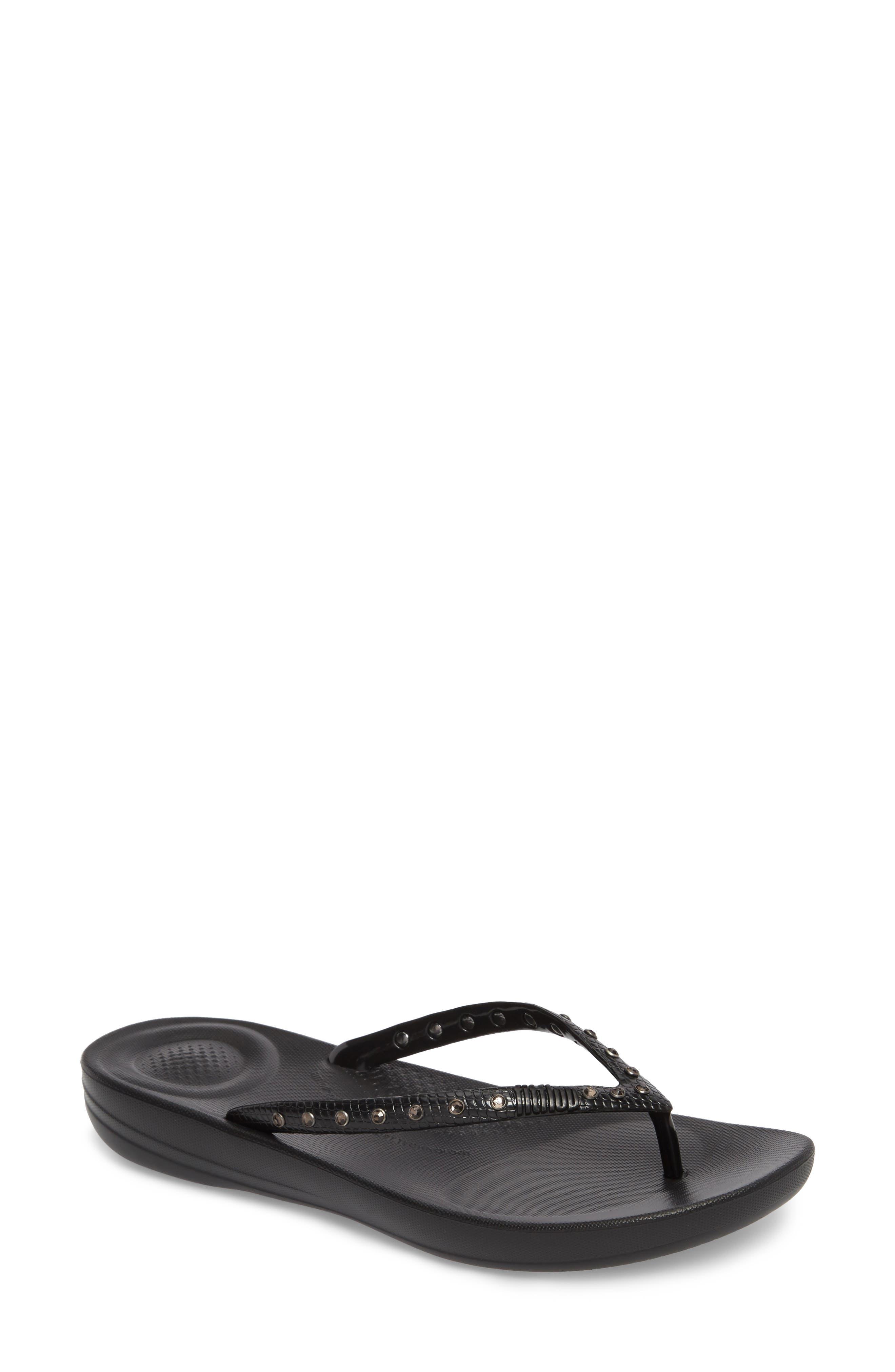 iQushion Flip Flop,                         Main,                         color, BLACK