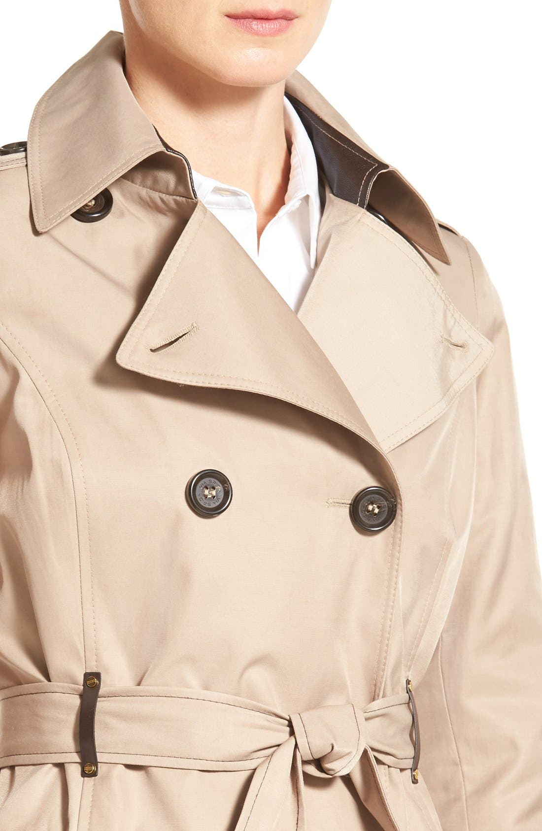 Double Breasted Trench with Faux Leather Trim,                             Alternate thumbnail 8, color,