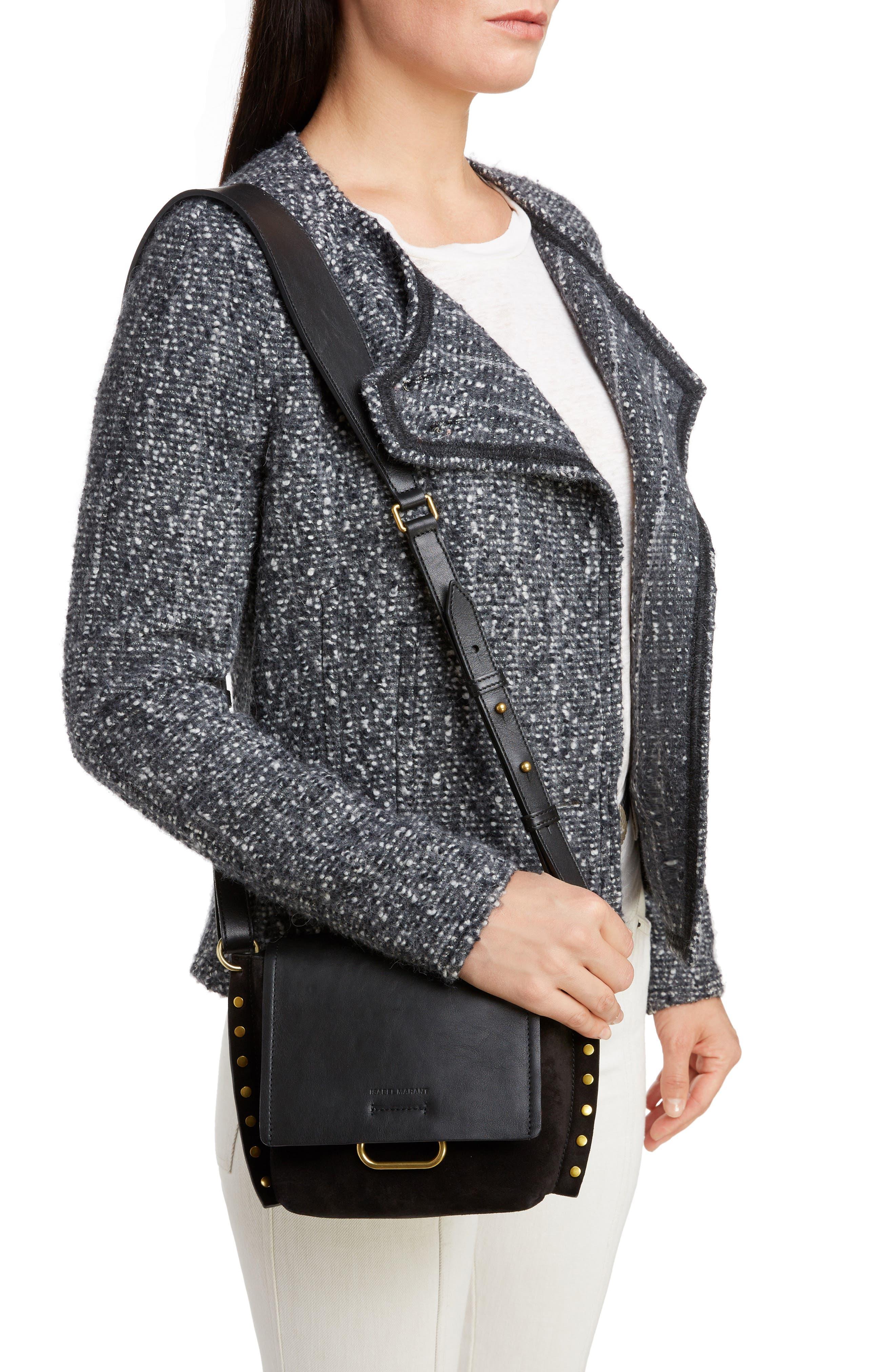 Kleny Leather Shoulder Bag,                             Alternate thumbnail 2, color,                             BLACK