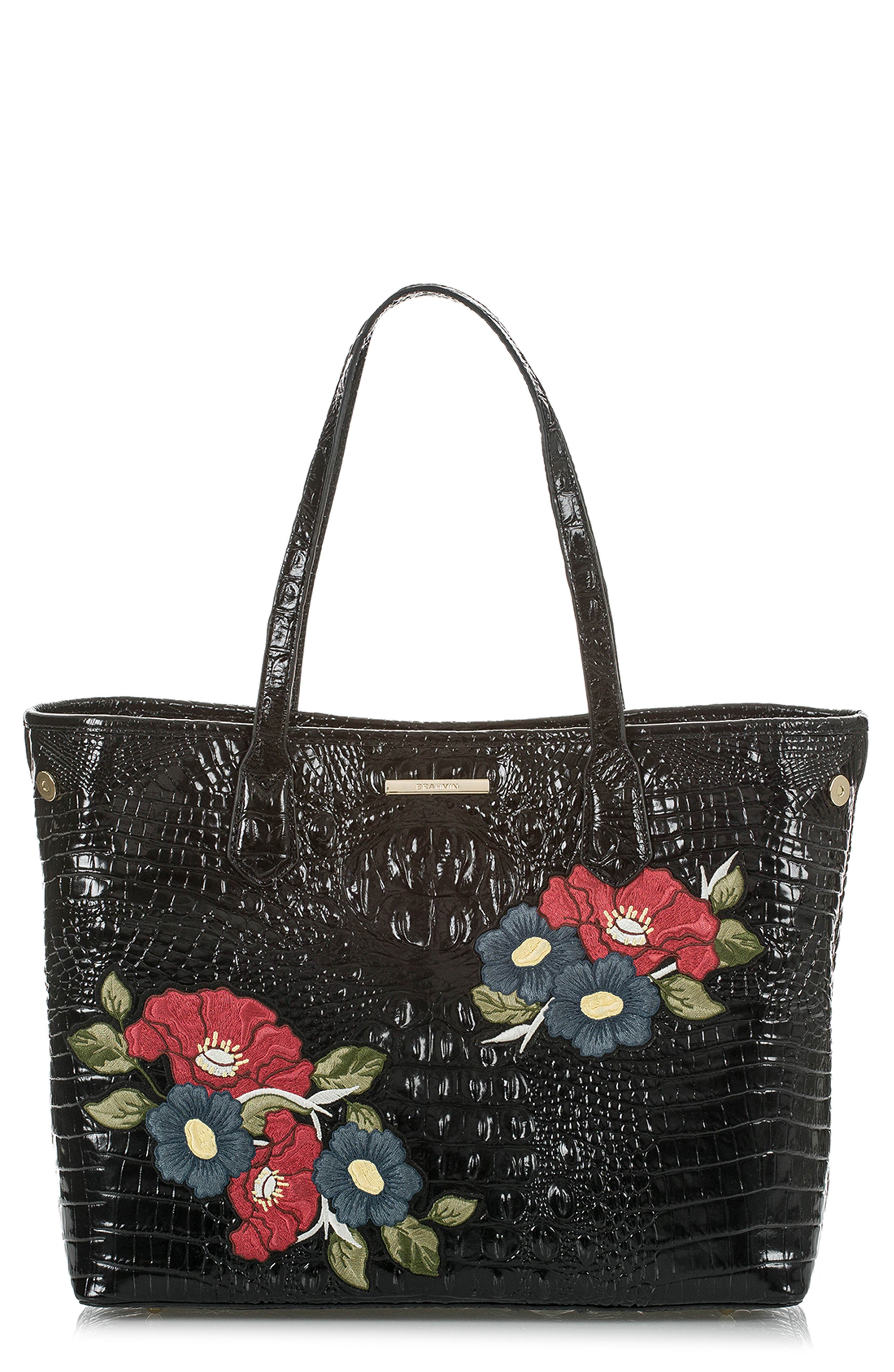 Medium Julian Embroidered Leather Tote, Main, color, BLACK