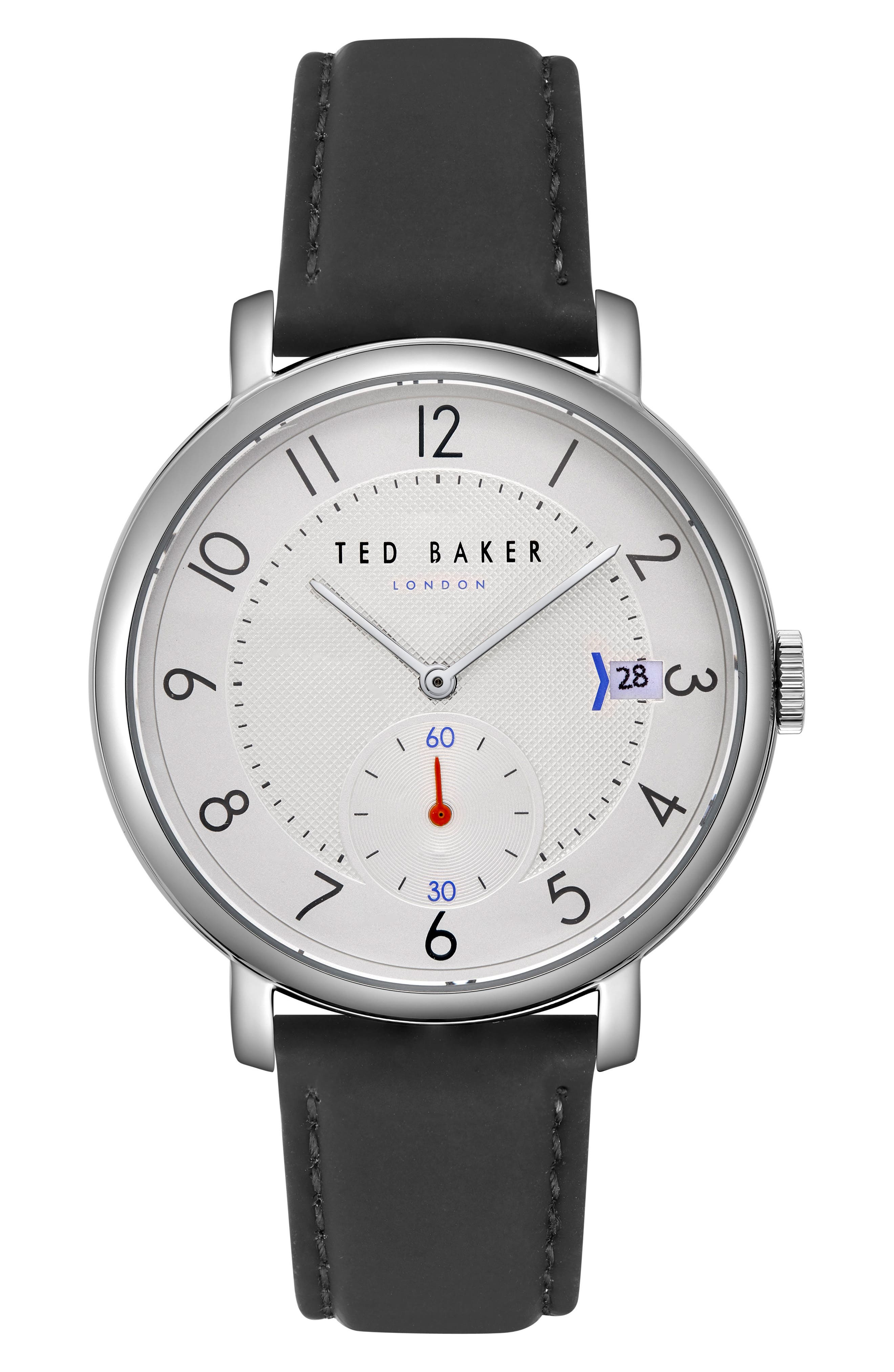 Oscar Leather Strap Watch, 43mm,                             Main thumbnail 1, color,                             SILVER/ BLACK