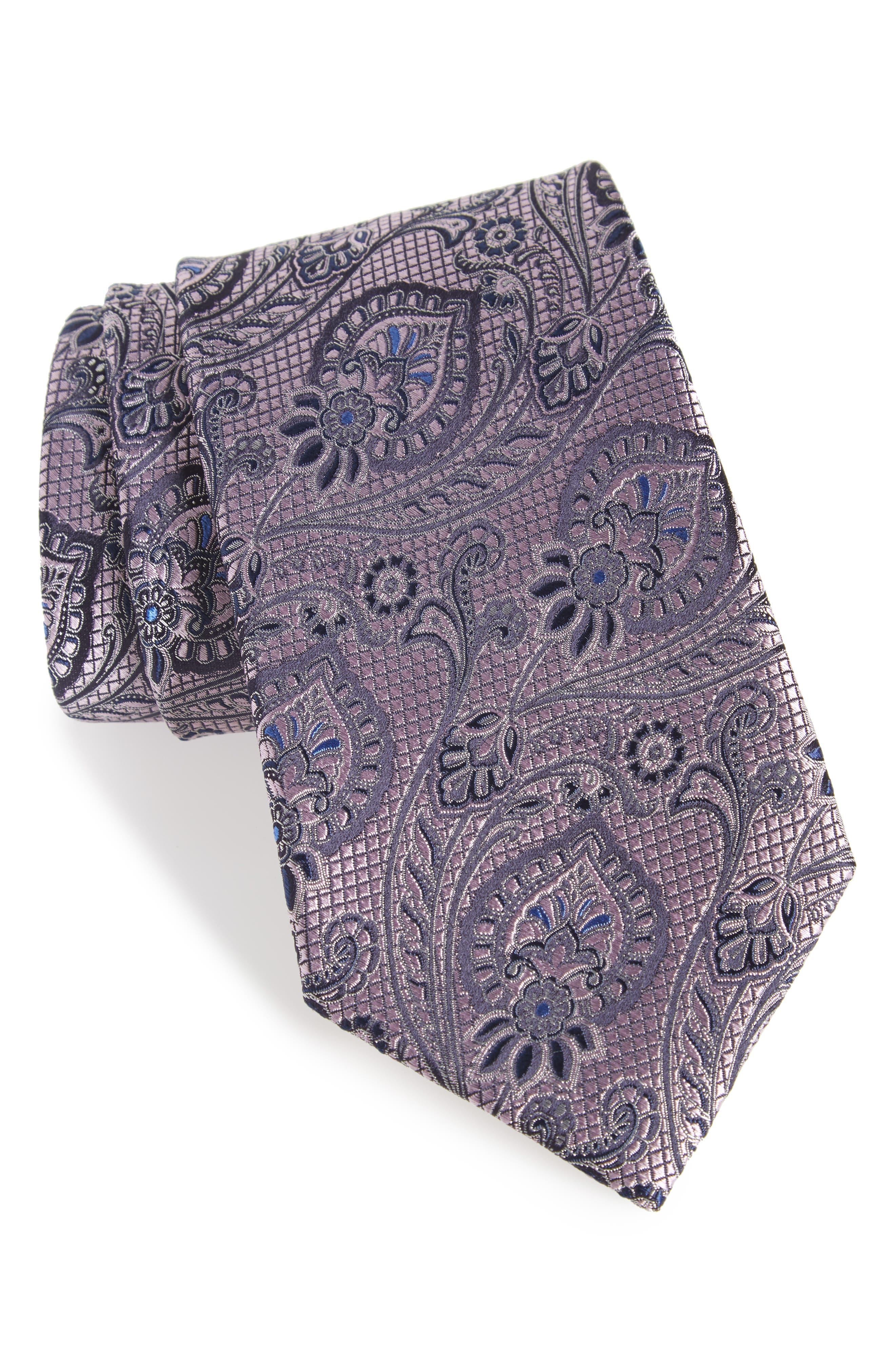 Paisley Silk Tie,                             Main thumbnail 1, color,                             PURPLE