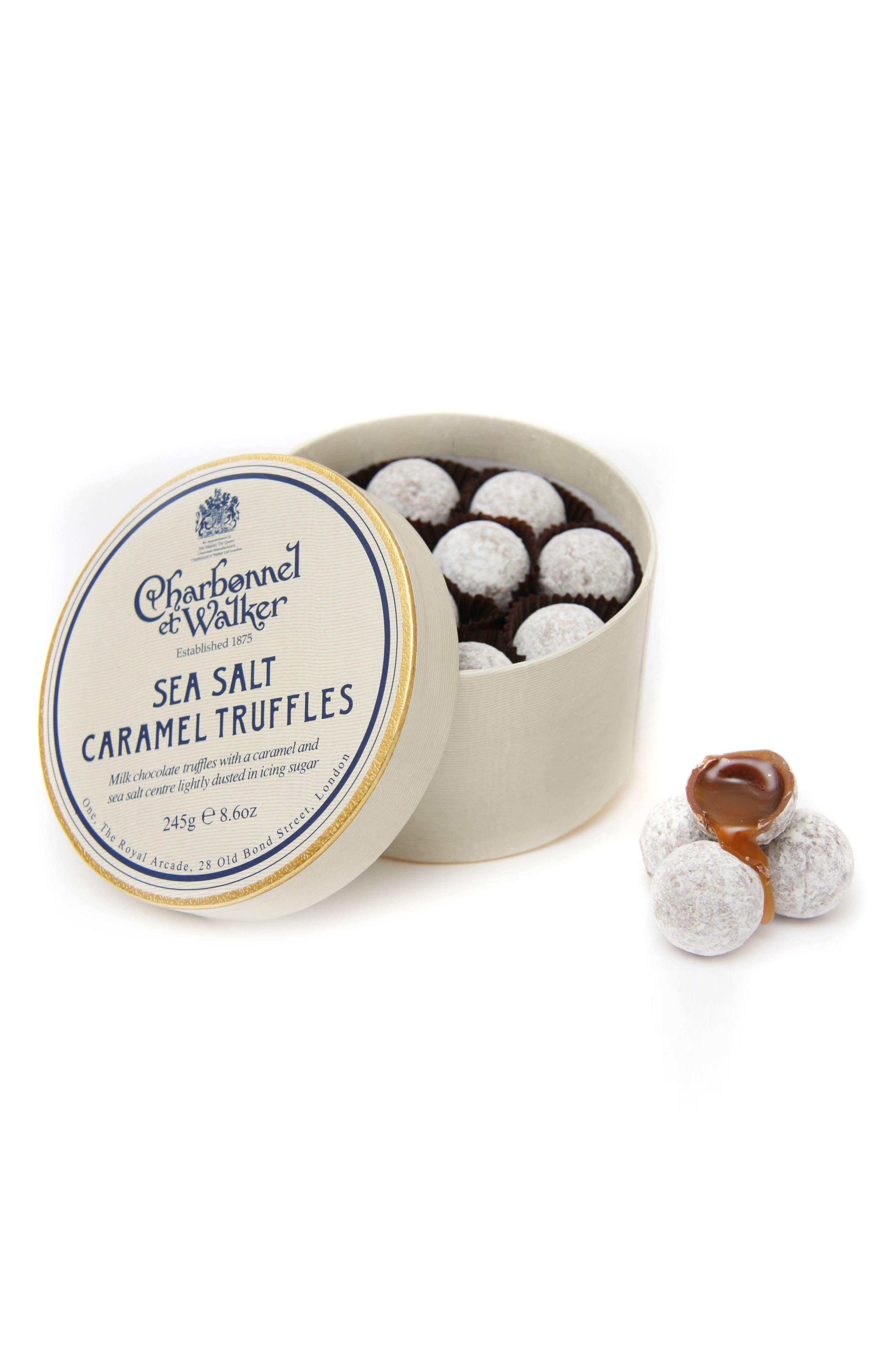 Sea Salt Caramel Milk Chocolate Truffles in Double Layer Gift Box,                             Main thumbnail 1, color,                             SEA SALT/ MILK CARAMEL