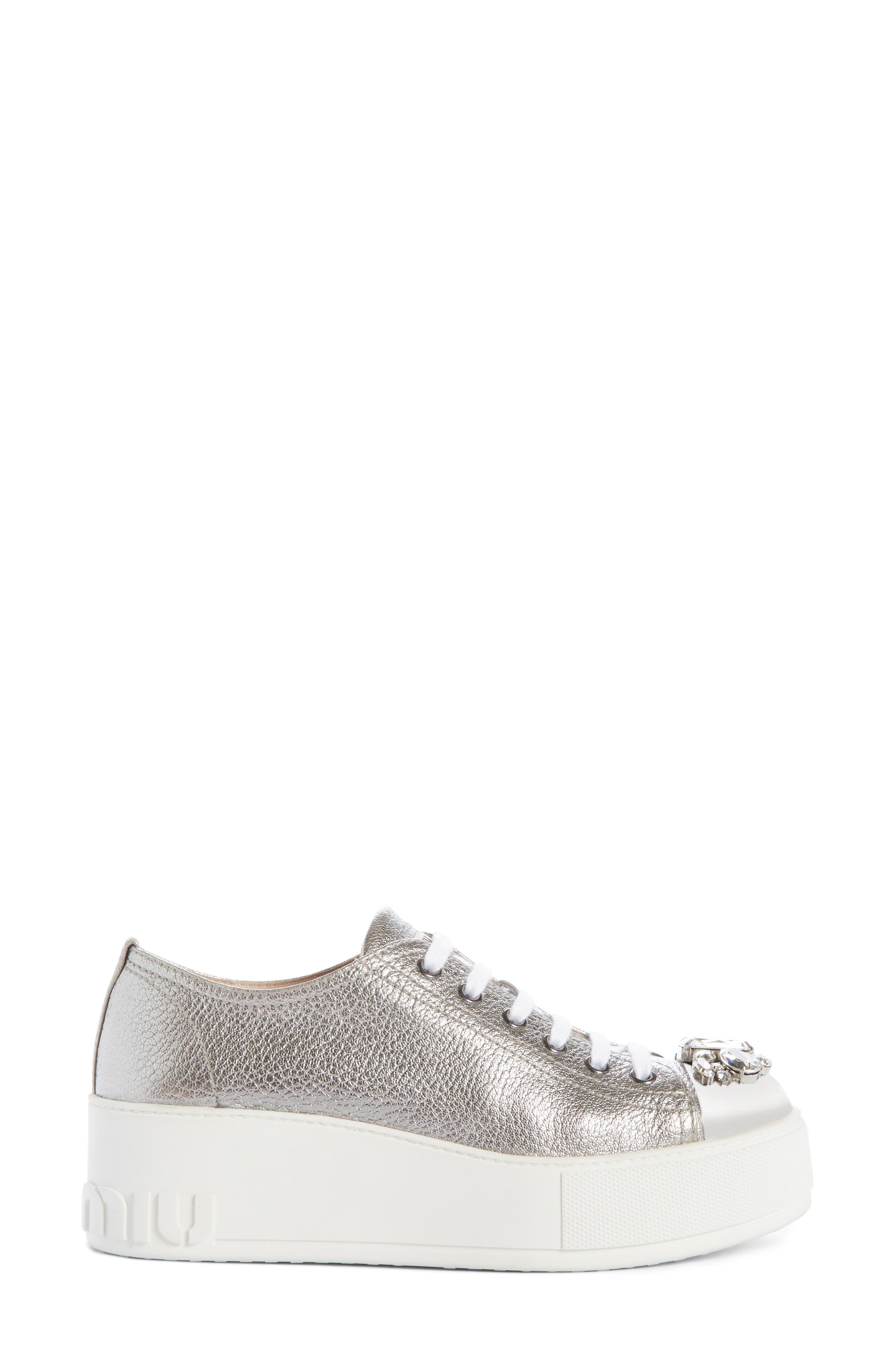 Crystal Cap Toe Sneaker,                             Alternate thumbnail 3, color,                             SILVER