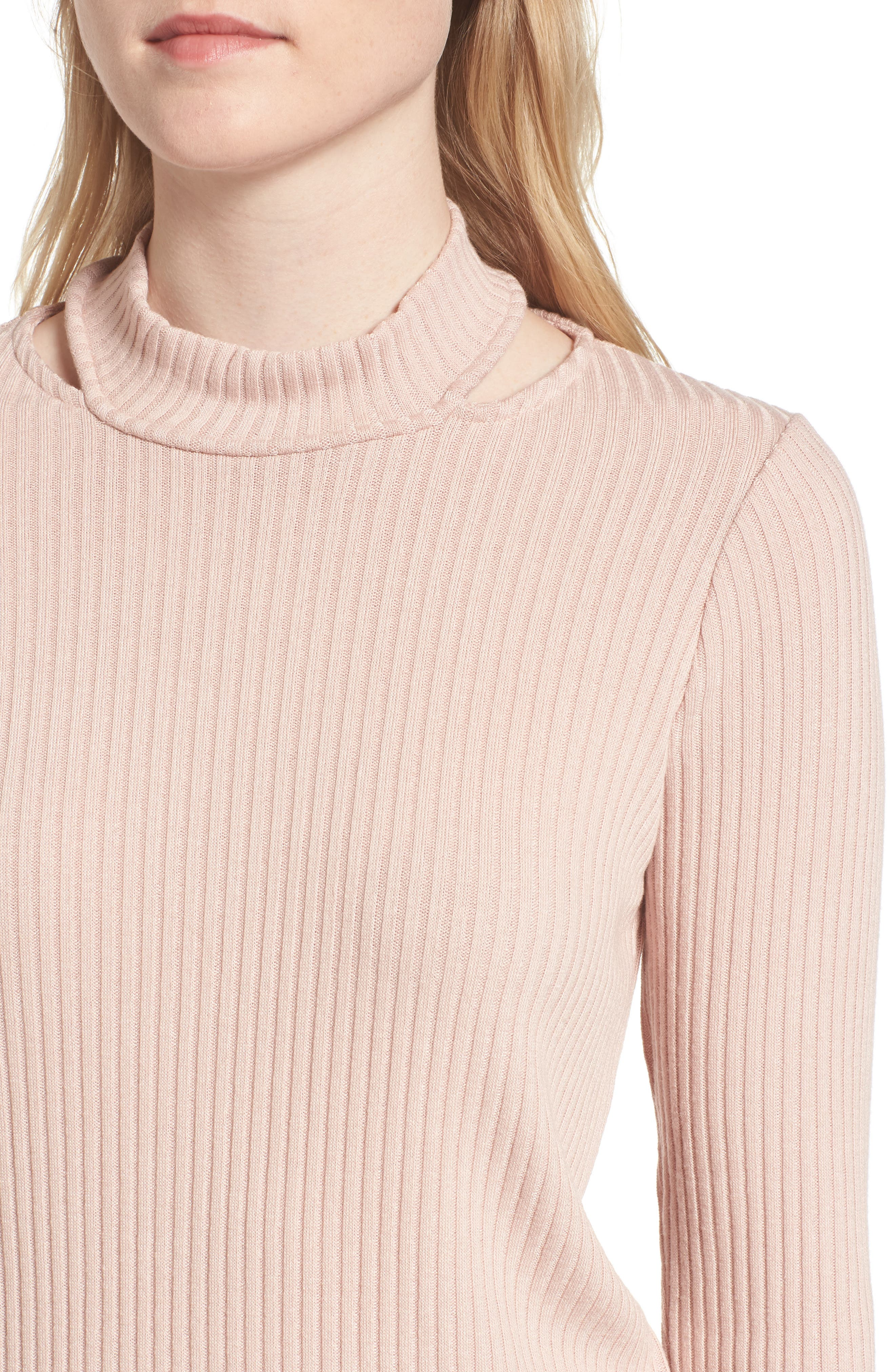 Sylvie Ribbed Mock Neck Sweater,                             Alternate thumbnail 4, color,                             688
