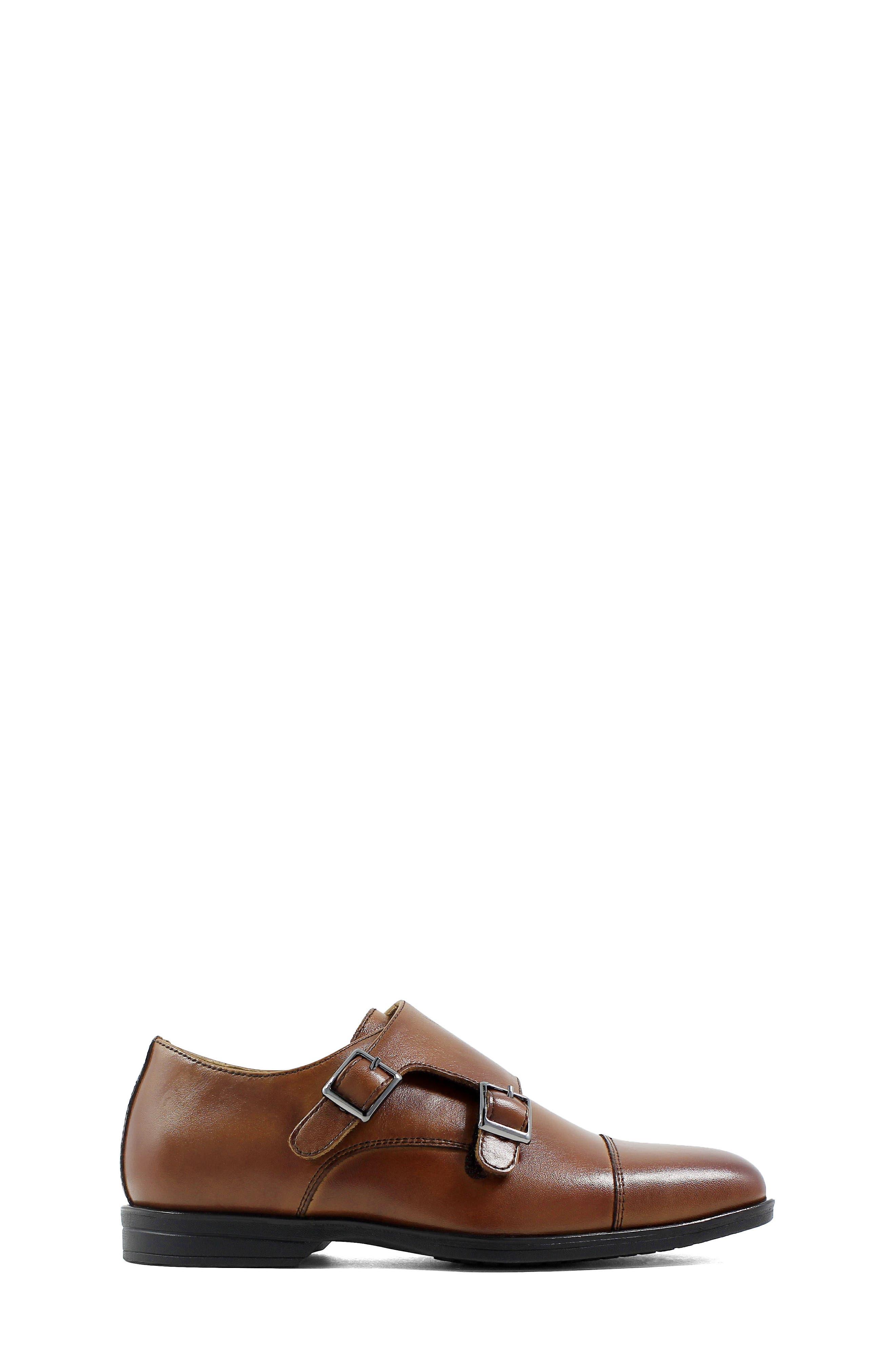 Reveal Double Monk Strap Shoe,                             Alternate thumbnail 3, color,                             COGNAC LEATHER