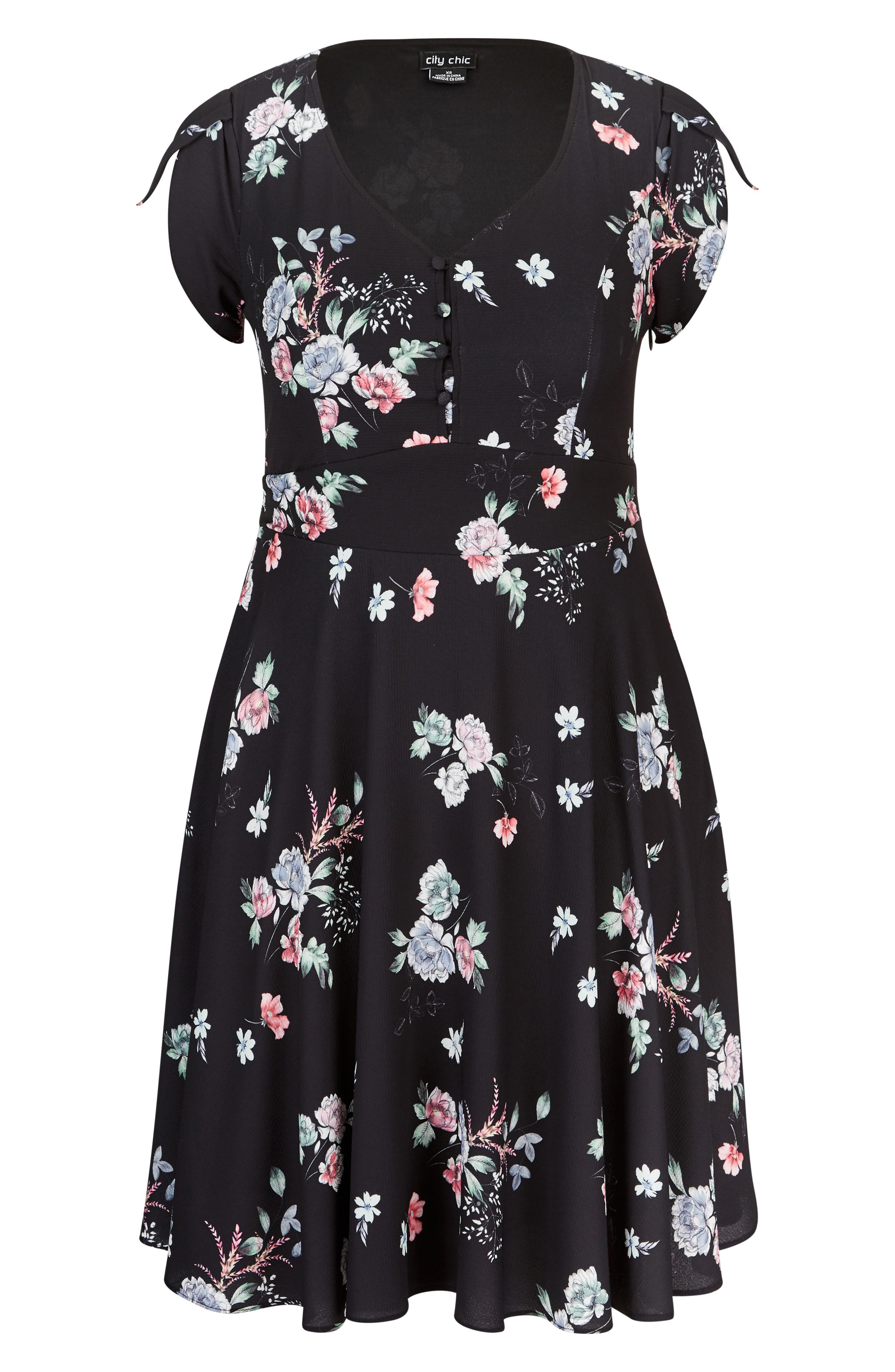 Lovely Blooms Fit & Flare Dress,                             Alternate thumbnail 3, color,                             LOVELY BLOOMS