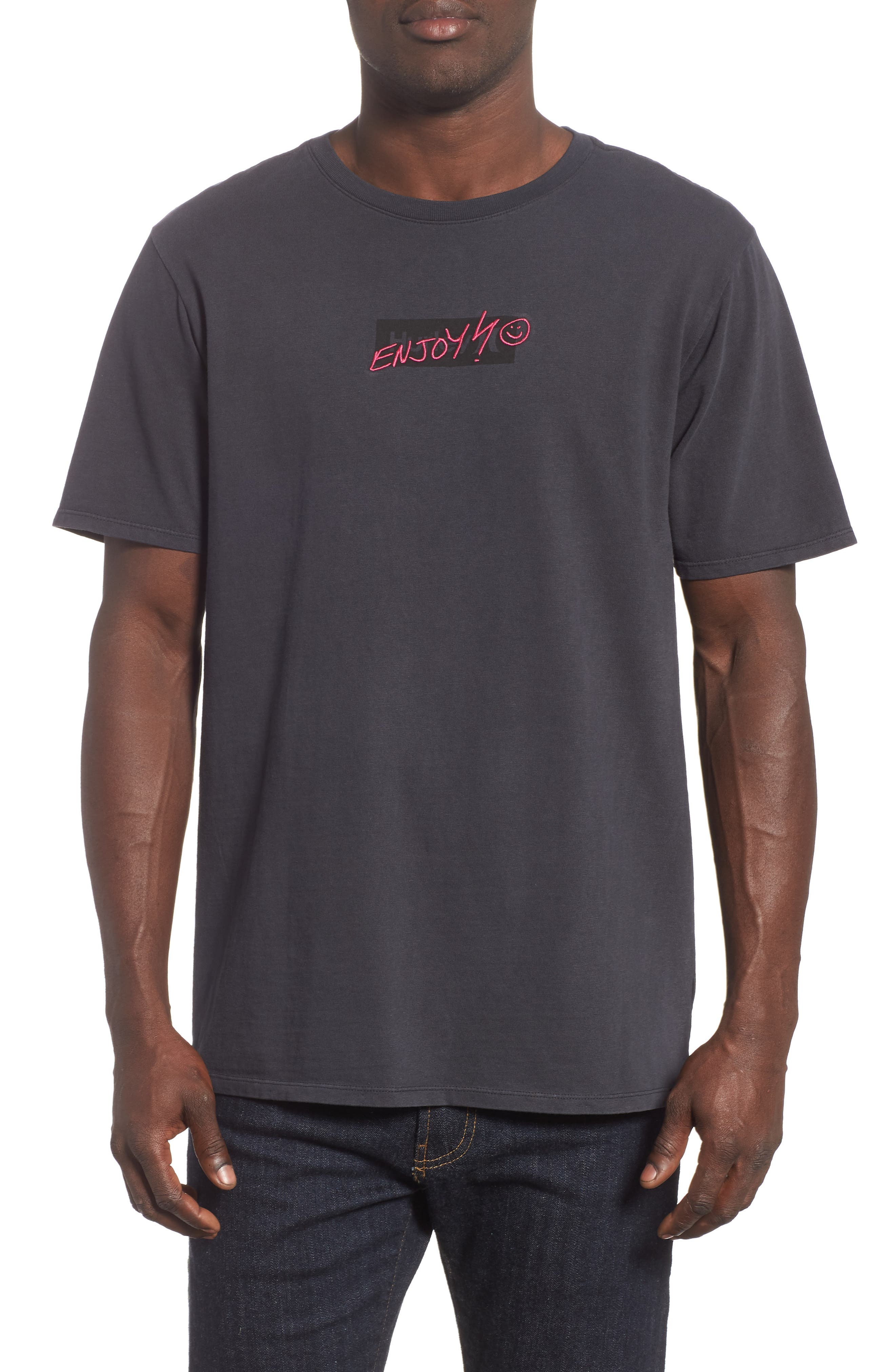 Heavy Enjoy Graphic T-Shirt,                             Main thumbnail 1, color,                             ANTHRACITE