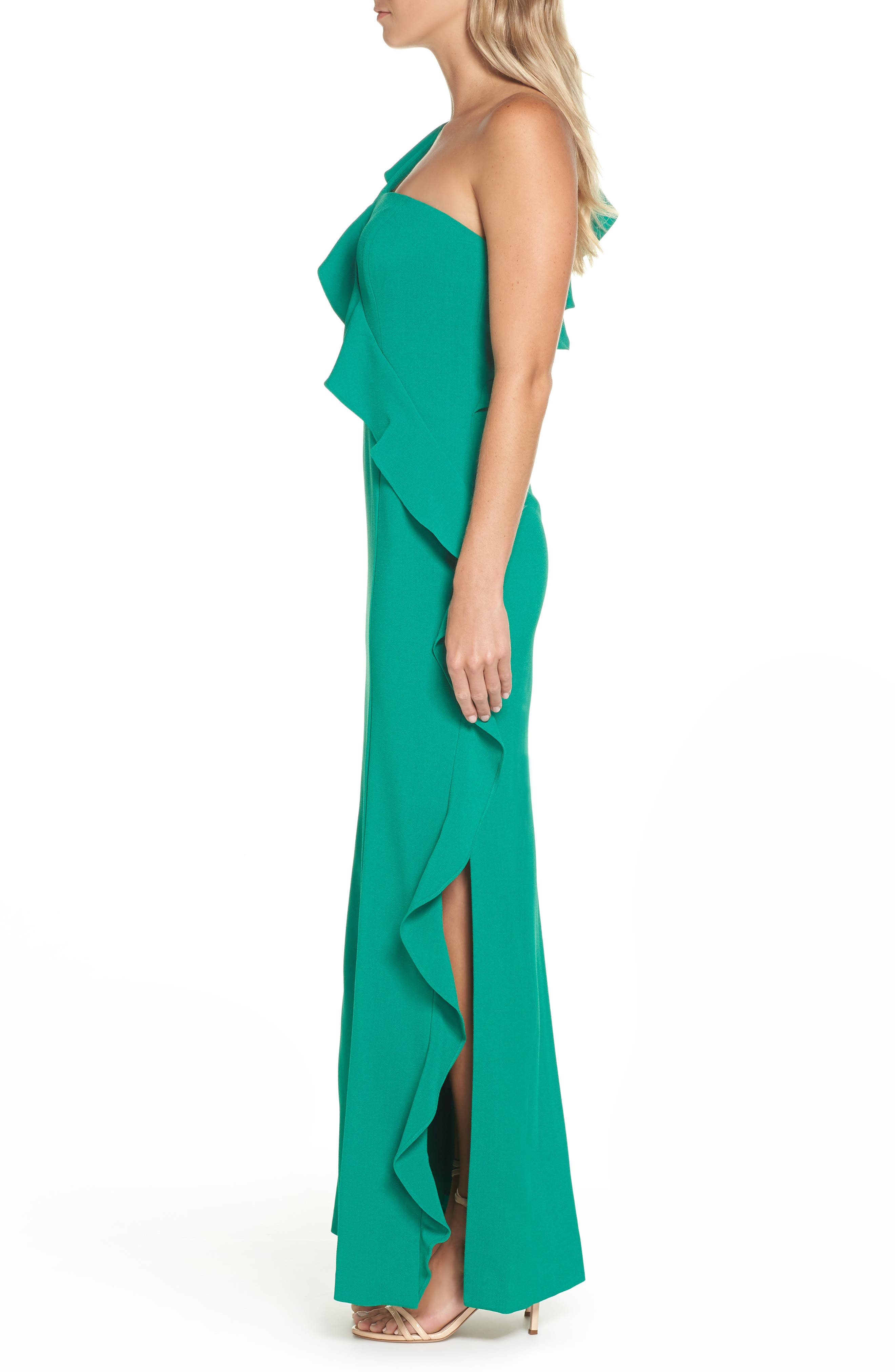 One-Shoulder Gown,                             Alternate thumbnail 3, color,                             GREEN