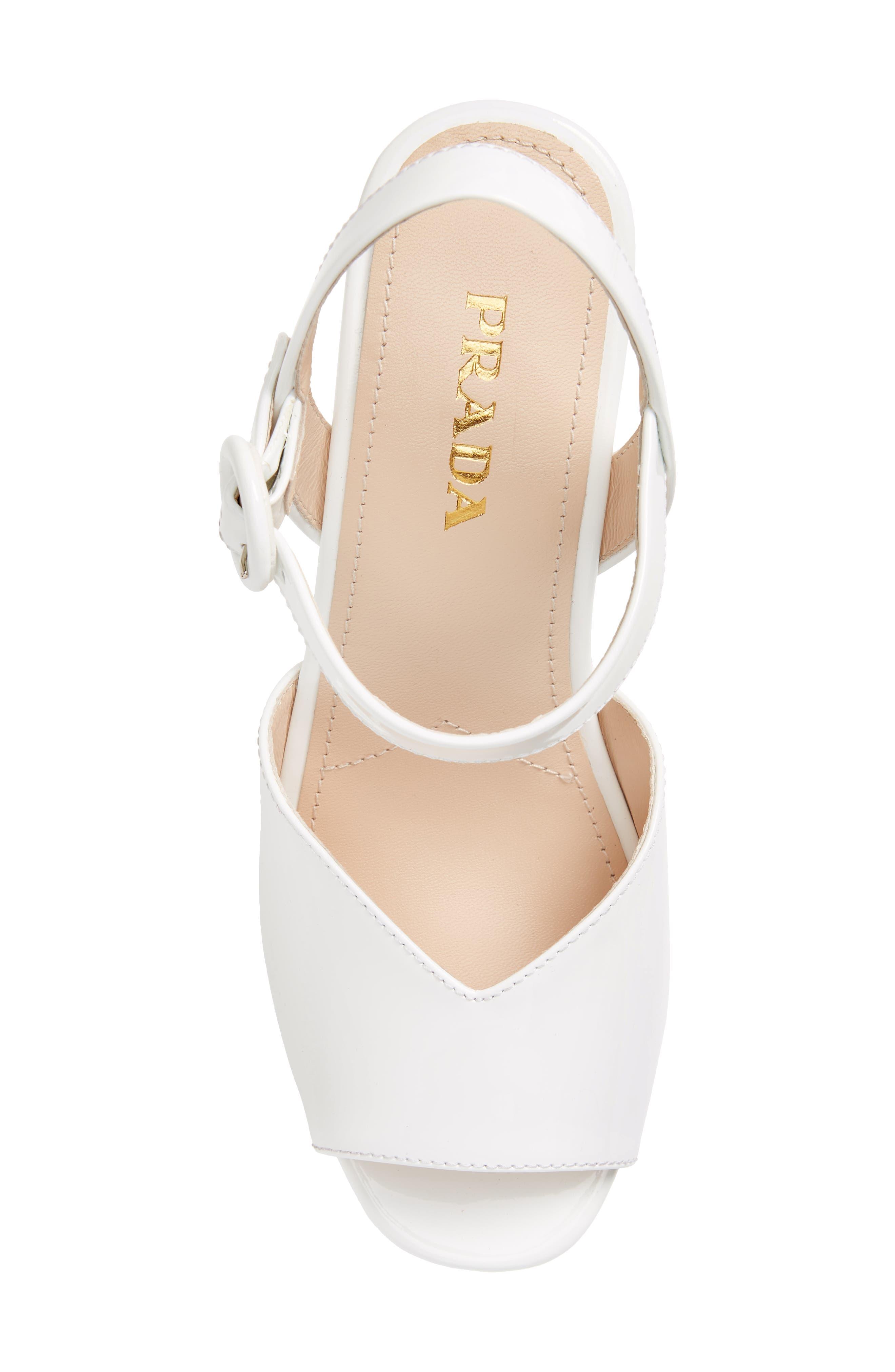 Wedge Platform Sandal,                             Alternate thumbnail 5, color,                             WHITE PATENT