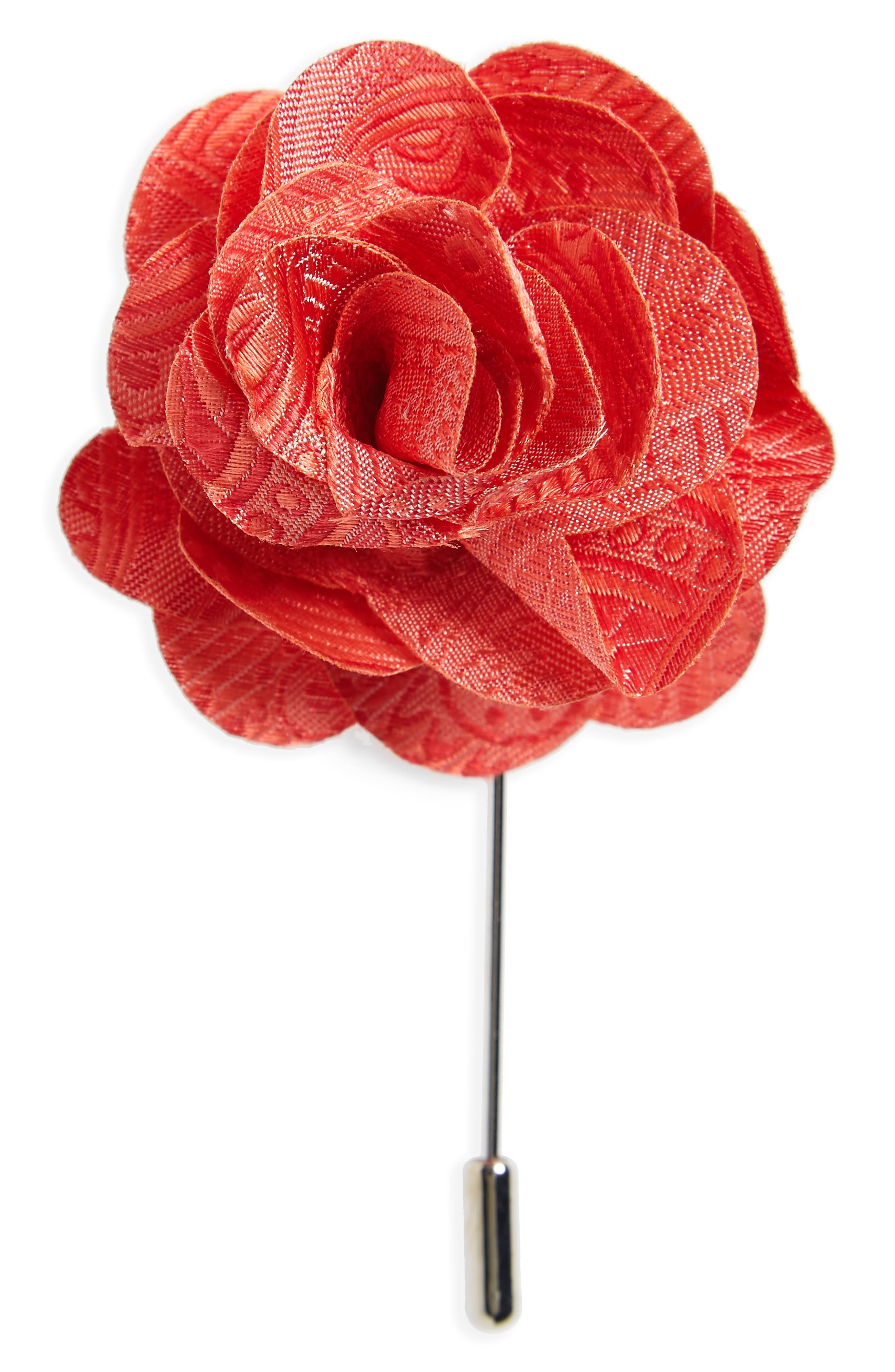 Twill Paisley Silk Lapel Flower,                             Main thumbnail 2, color,