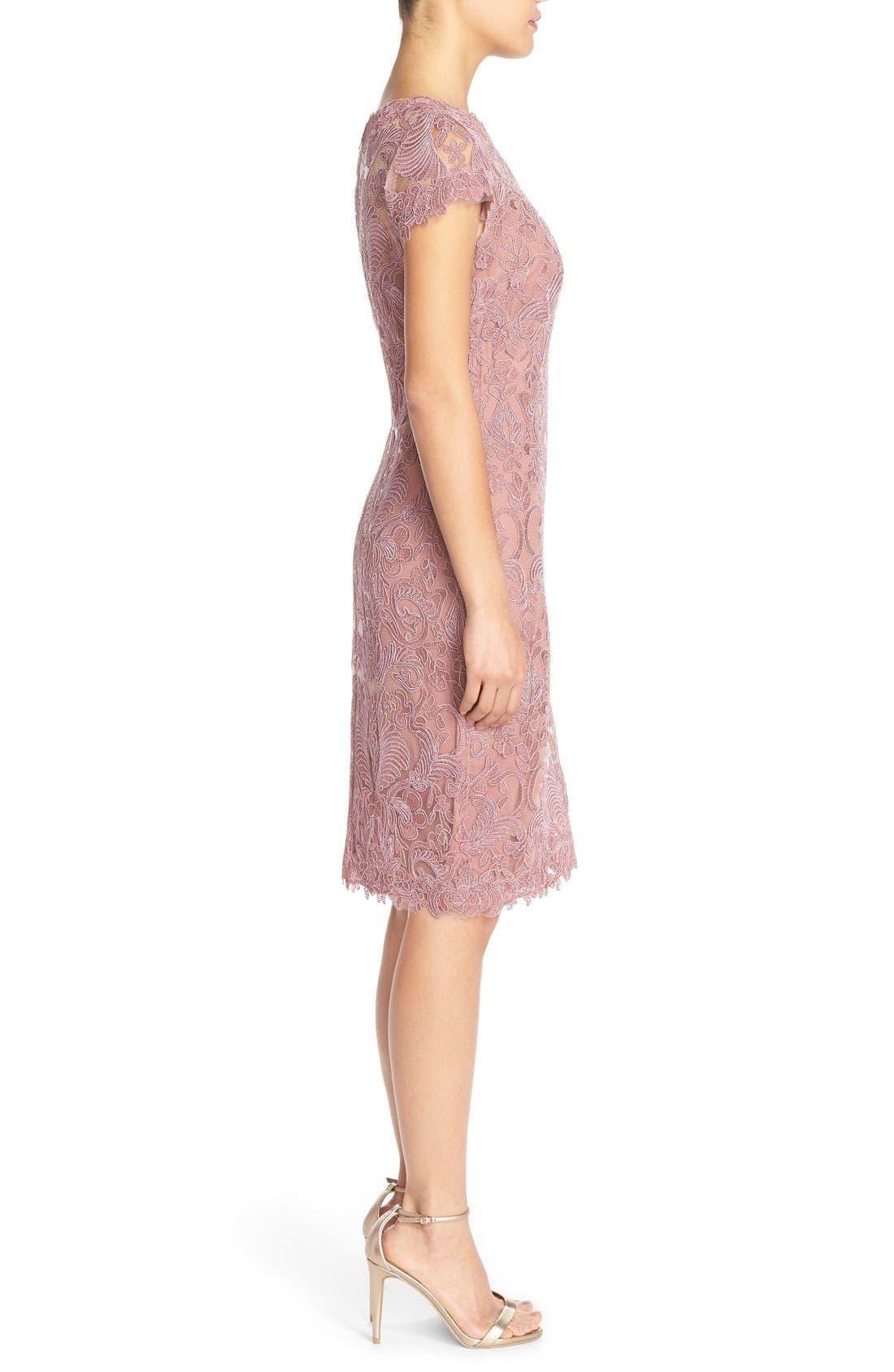 Illusion Yoke Lace Sheath Dress,                             Alternate thumbnail 112, color,