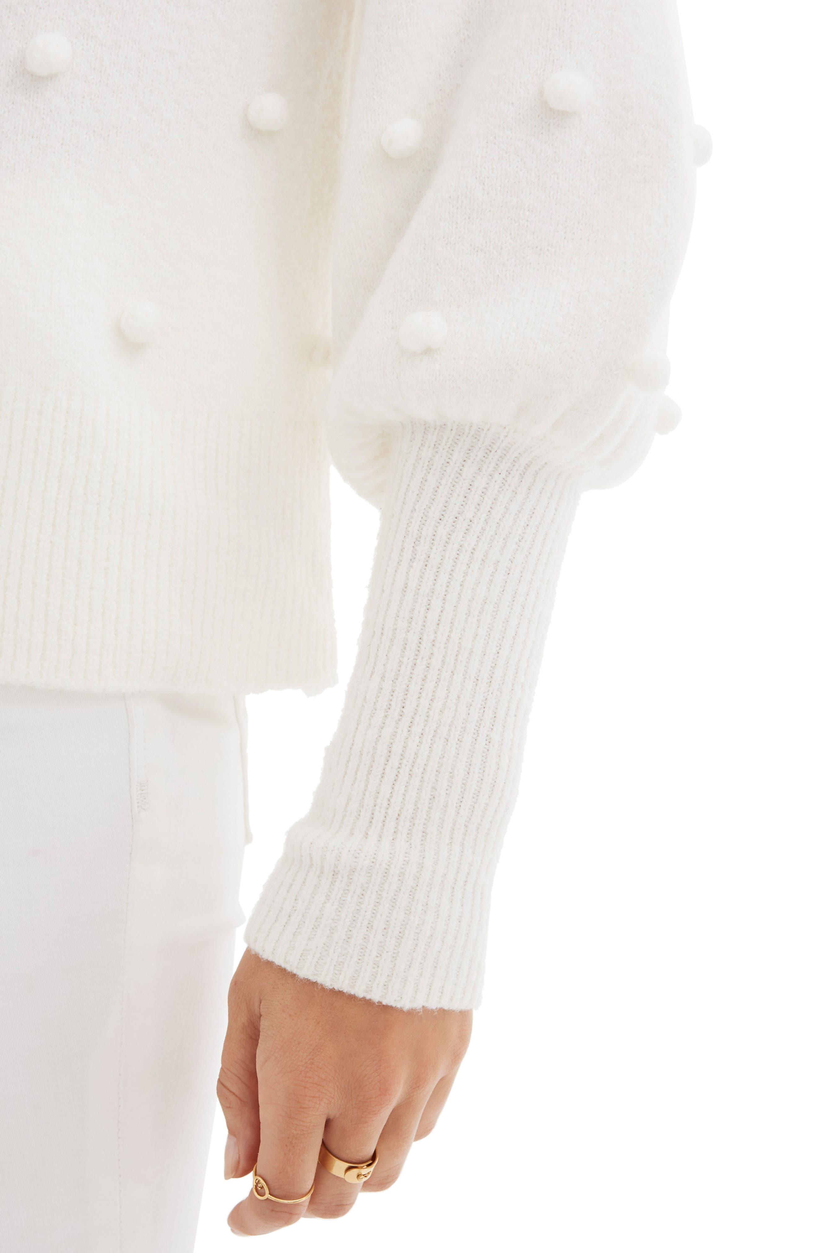 Bobble Dashwood Sweater,                             Alternate thumbnail 4, color,                             BRIGHT IVORY