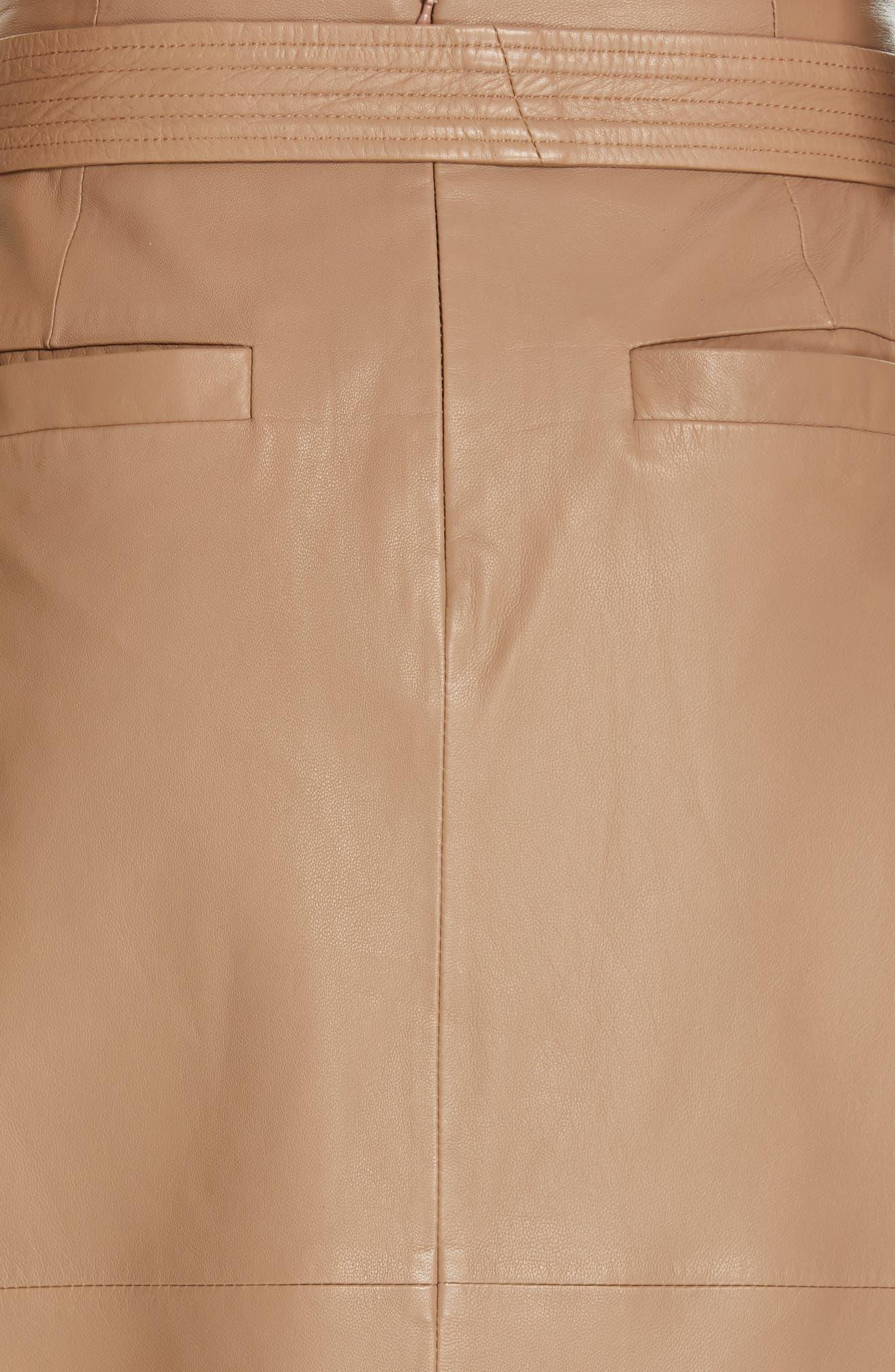 Alouetta Leather Skirt,                             Alternate thumbnail 5, color,                             BOIS