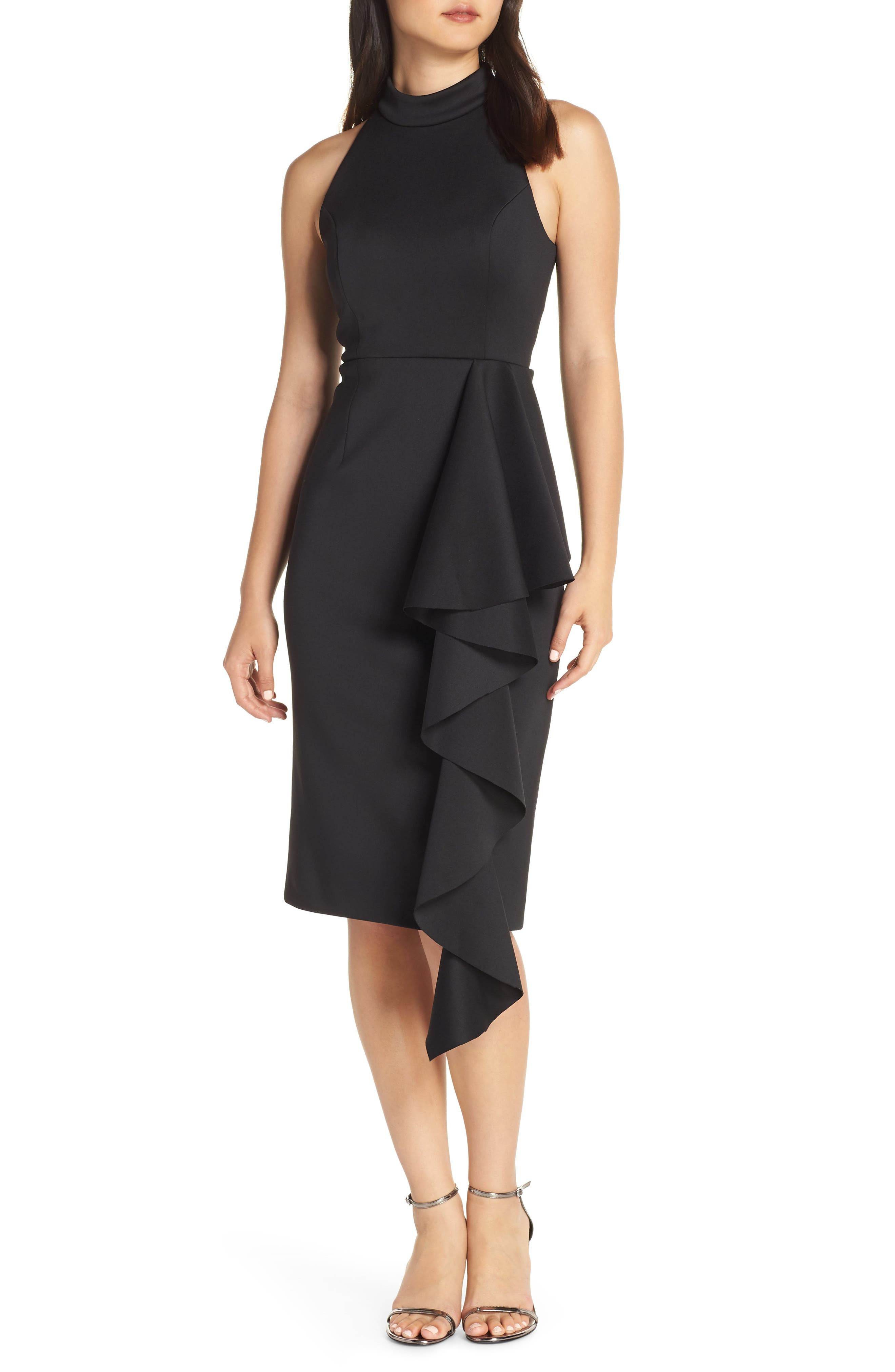 Eliza J Ruffle Mock Neck Dress, Black