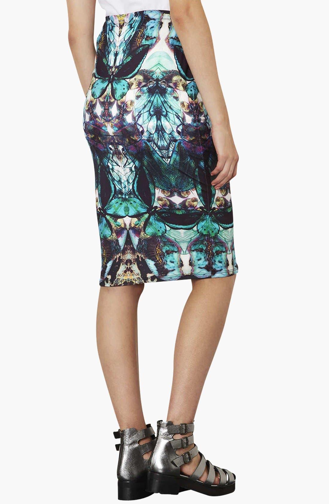 Moth Print Tube Skirt,                             Alternate thumbnail 3, color,                             300