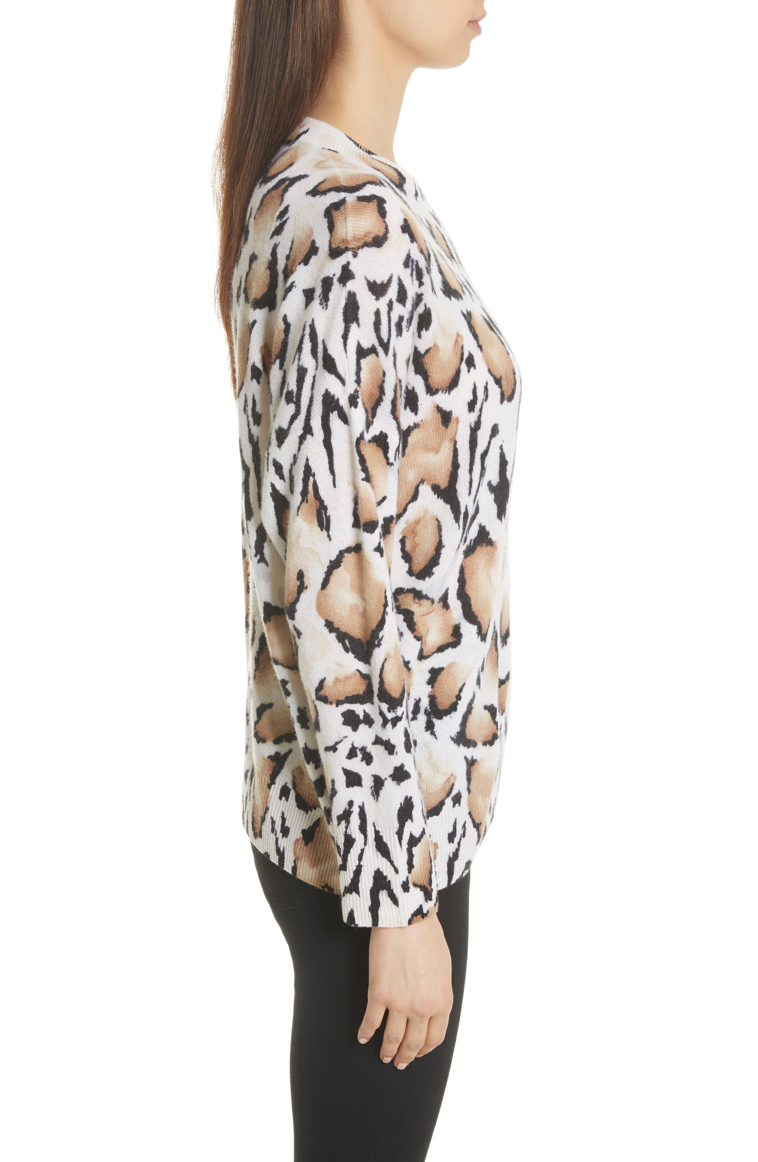Melanie Clouded Leopard Print Cashmere Sweater,                             Alternate thumbnail 3, color,                             188