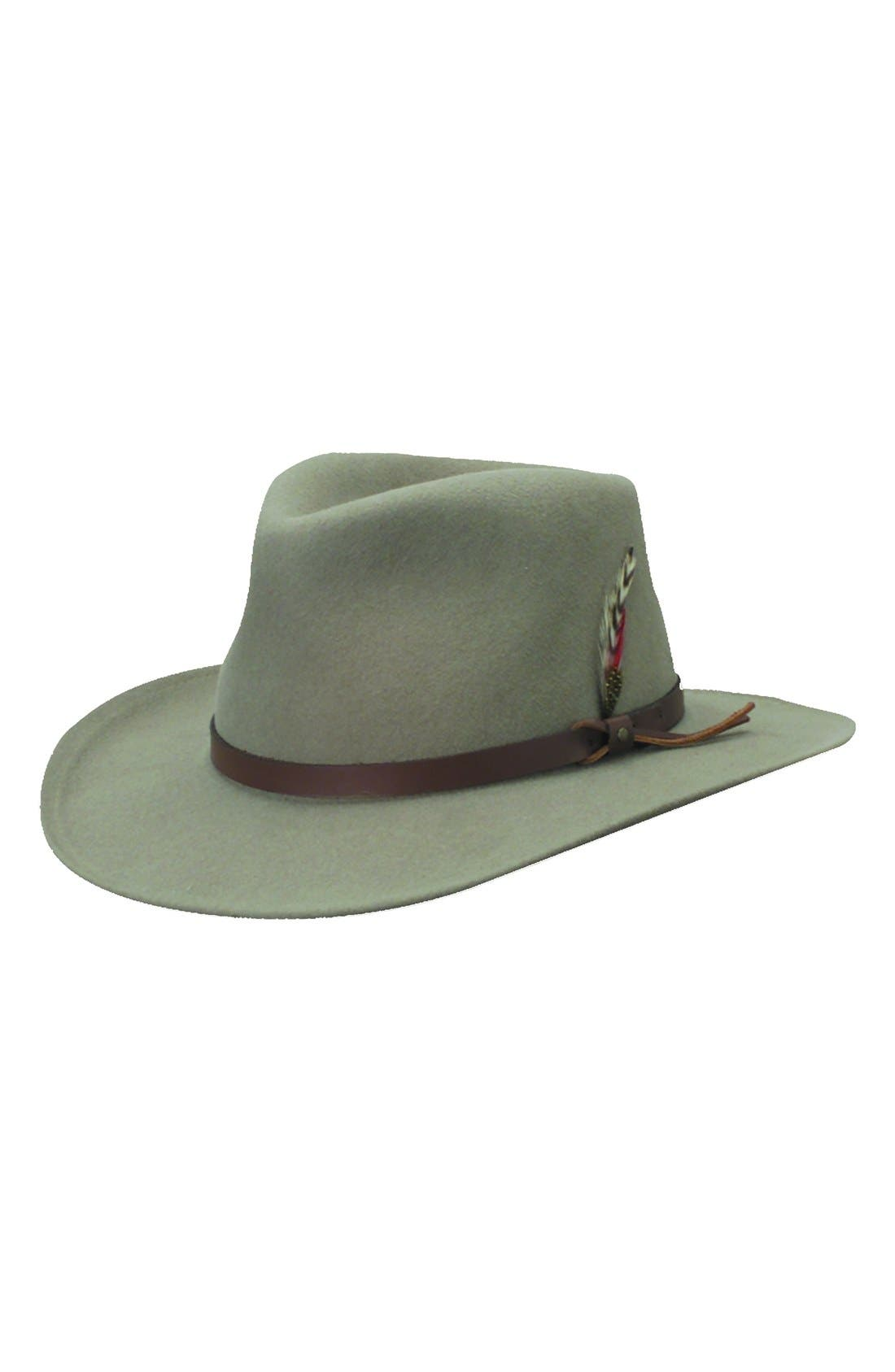 'Classico' Crushable Felt Outback Hat,                             Main thumbnail 1, color,                             PUTTY GREY/ BROWN