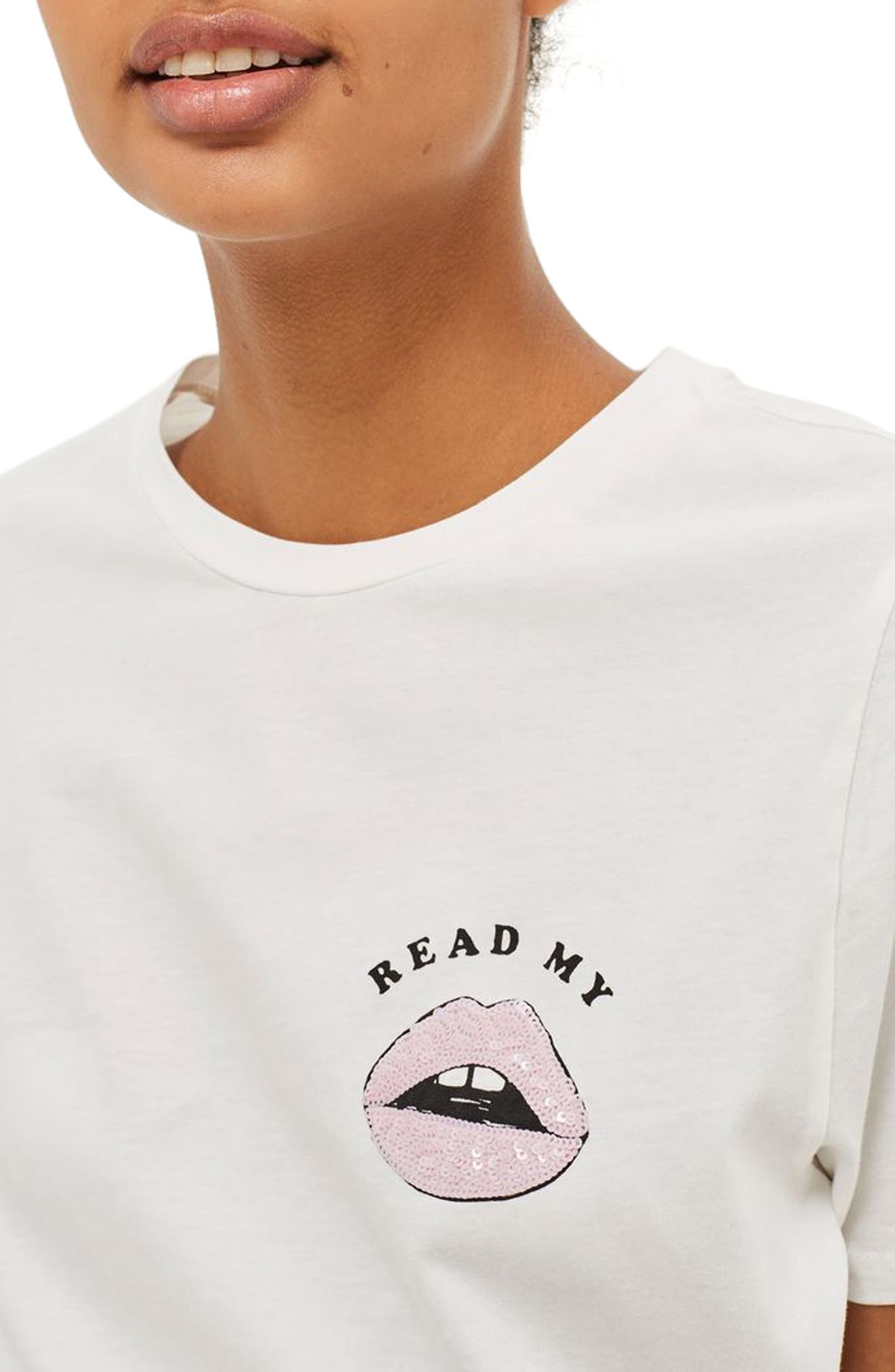 Read My Lips Graphic Tee,                             Alternate thumbnail 3, color,                             100