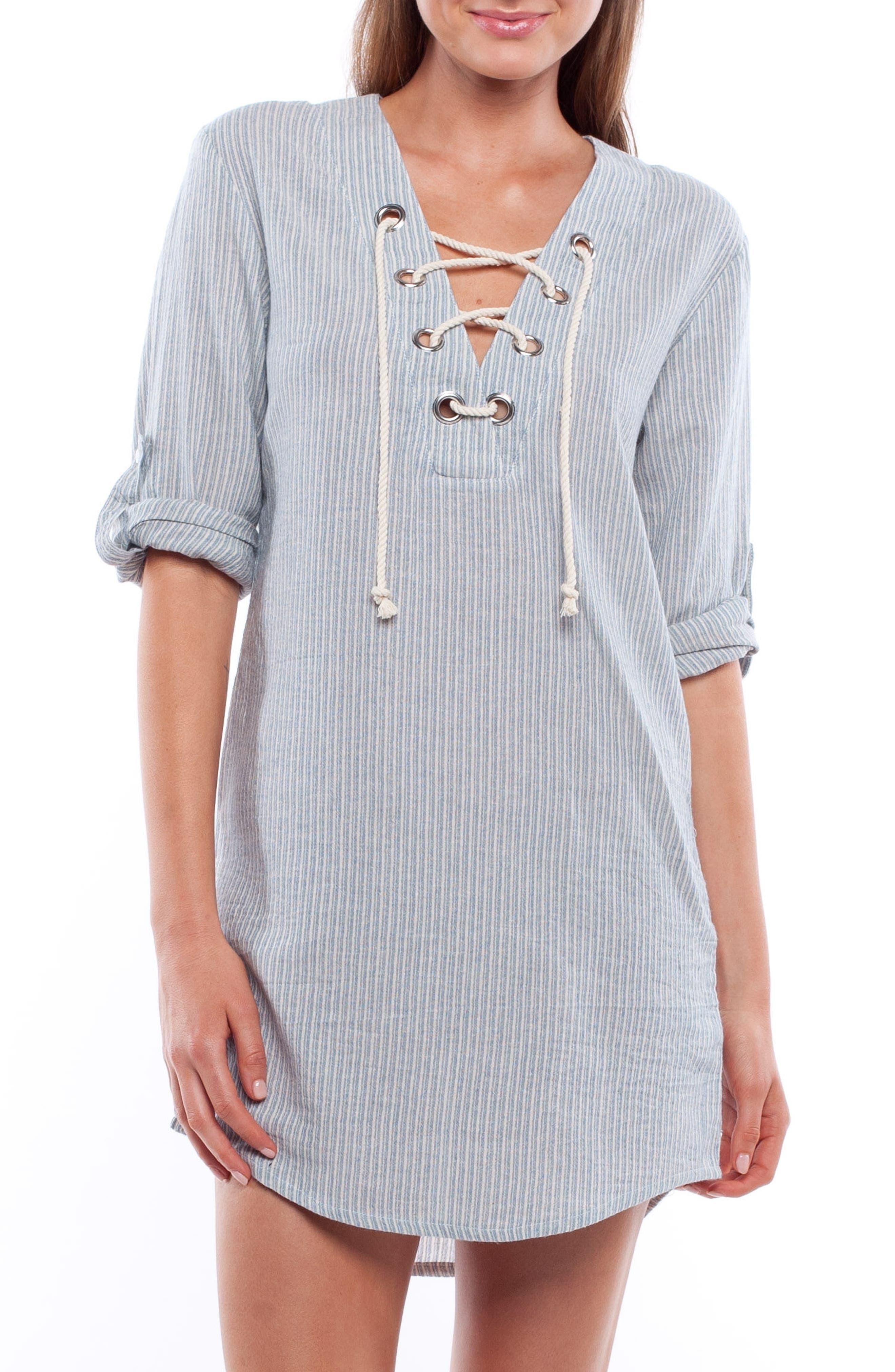 Tiki Cover-Up Tunic Dress,                         Main,                         color, 450