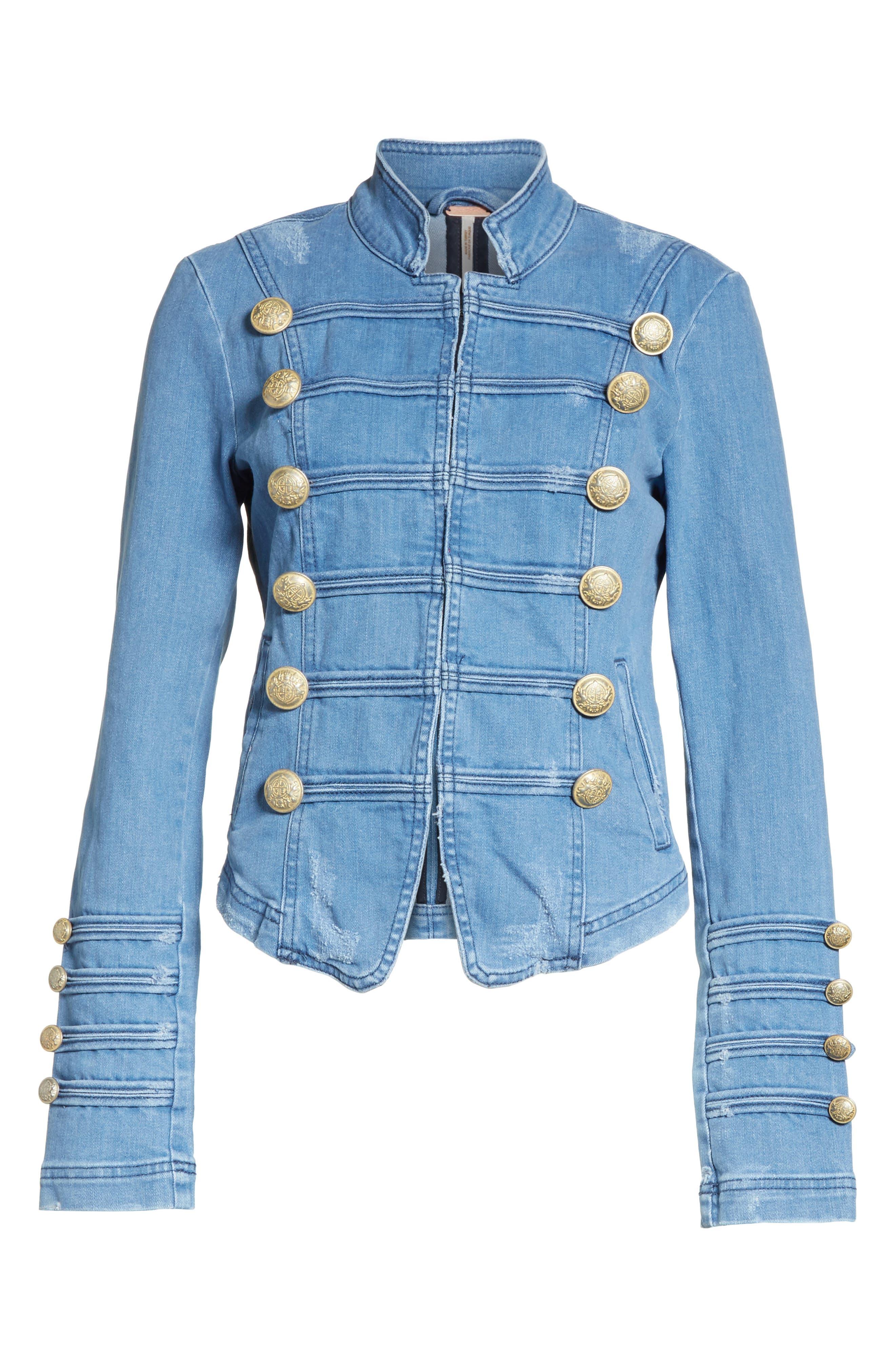 FREE PEOPLE,                             Military Denim Jacket,                             Alternate thumbnail 6, color,                             INDIGO BLUE