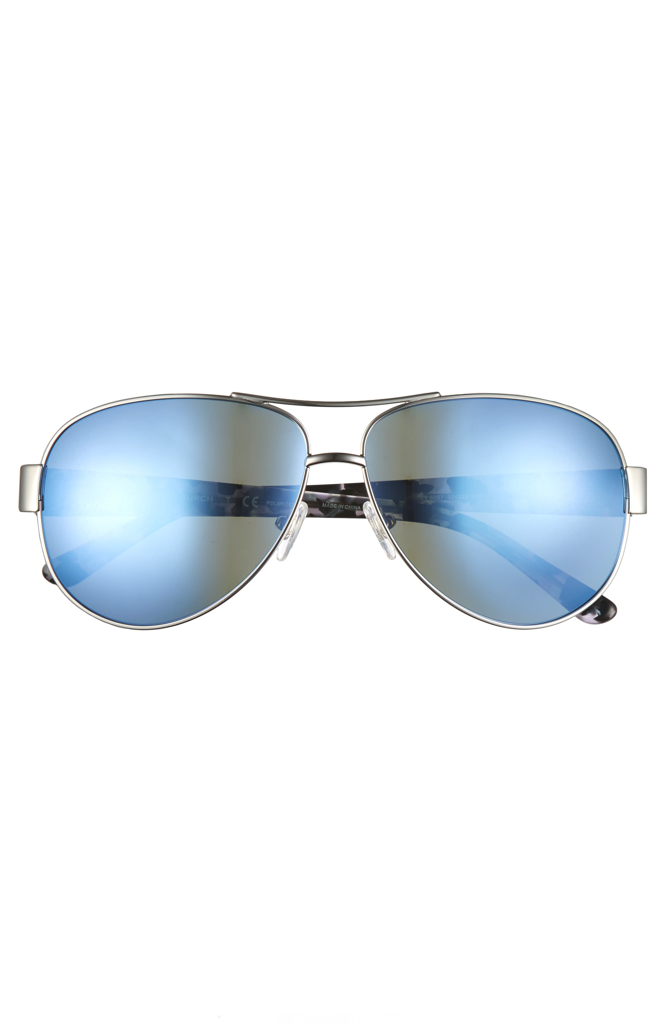 60mm Polarized Aviator Sunglasses,                             Alternate thumbnail 3, color,                             040