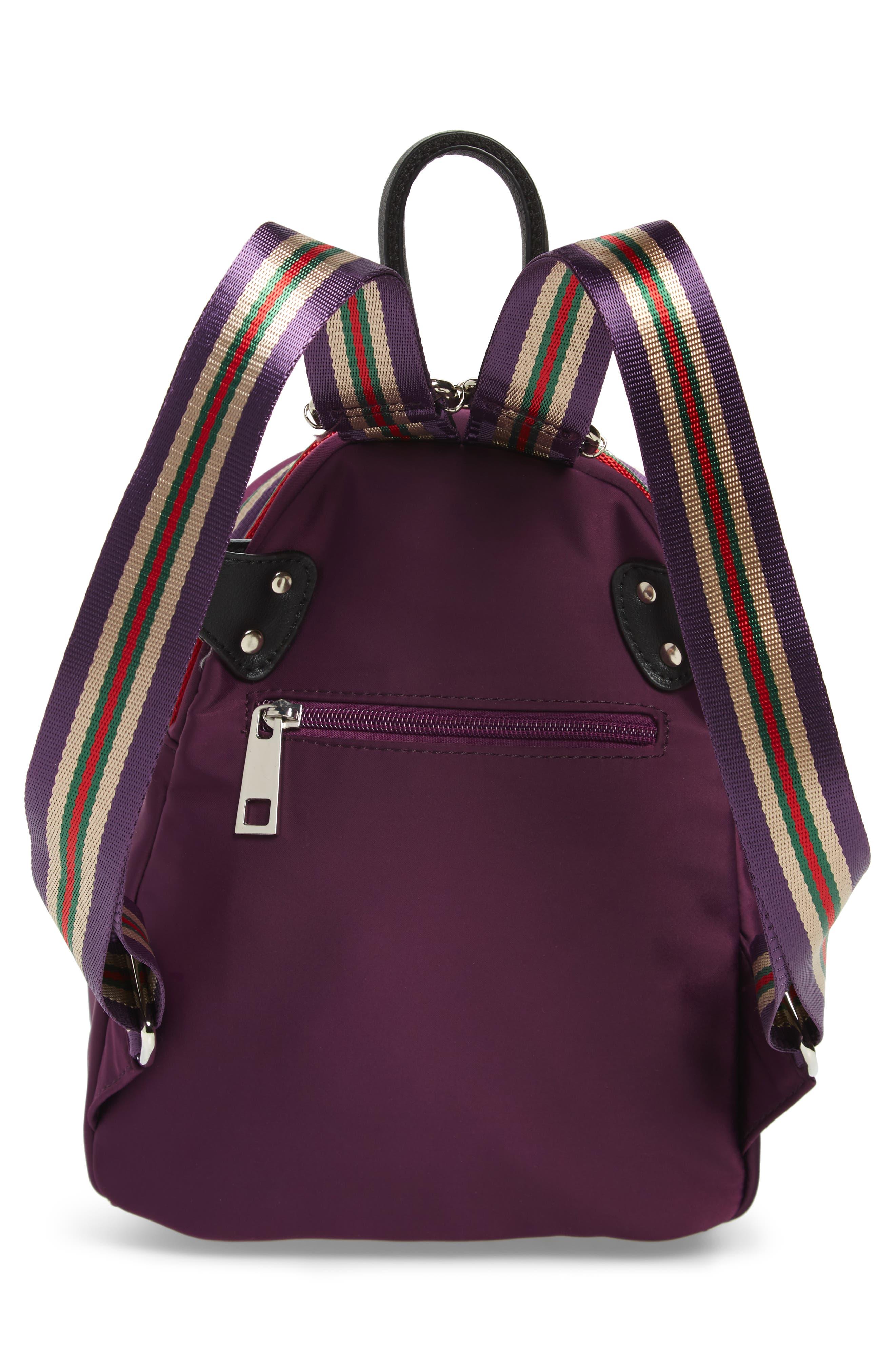 Satin Nylon & Webbing Convertible Backpack,                             Alternate thumbnail 4, color,                             PURPLE