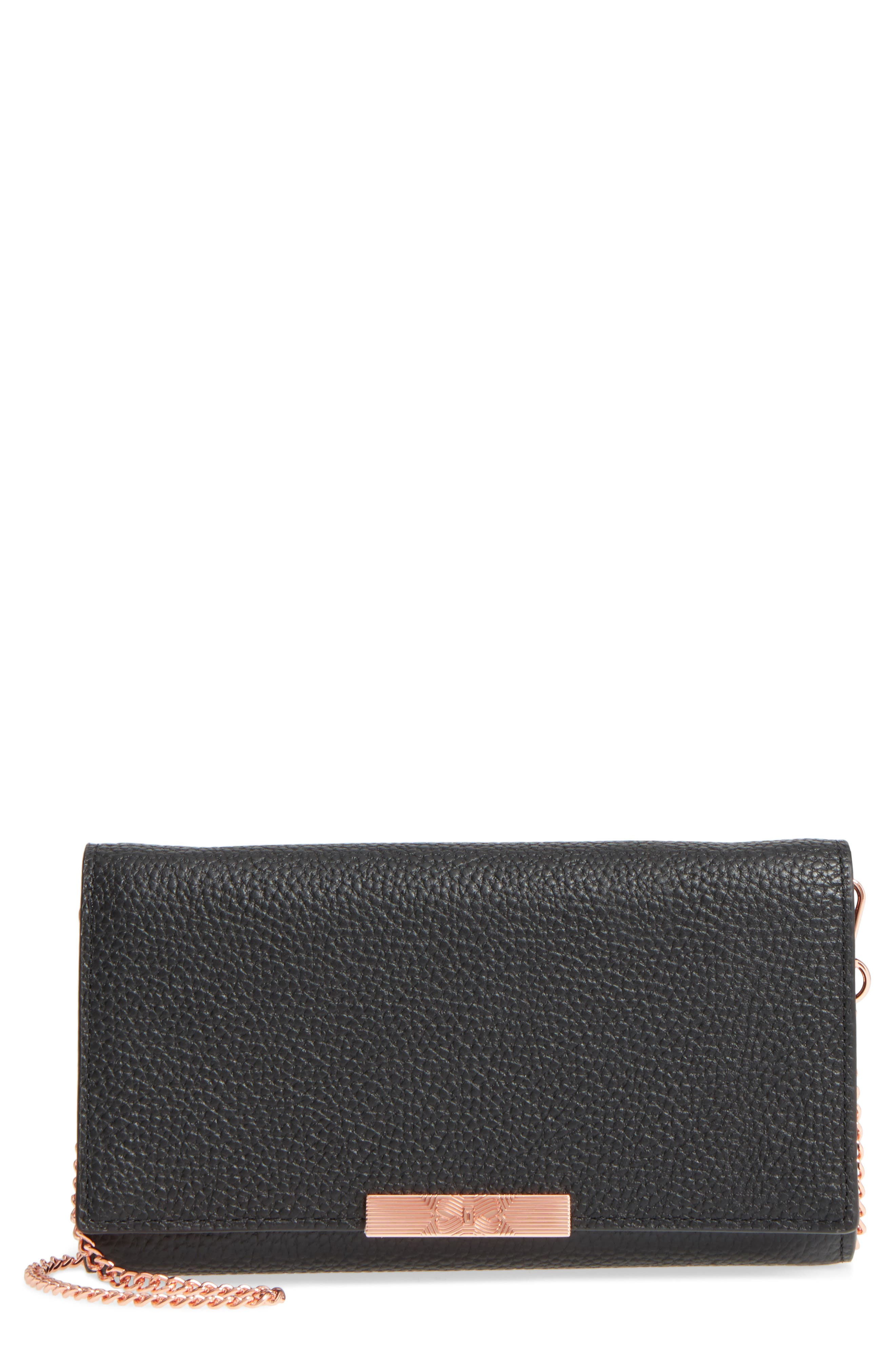 Leather Wallet on a Chain,                             Main thumbnail 1, color,