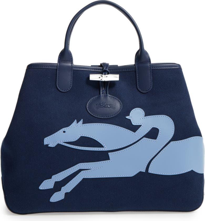 Longchamp Roseau Medium Fleuri Reversible Canvas Tote  0b80eb64cba03