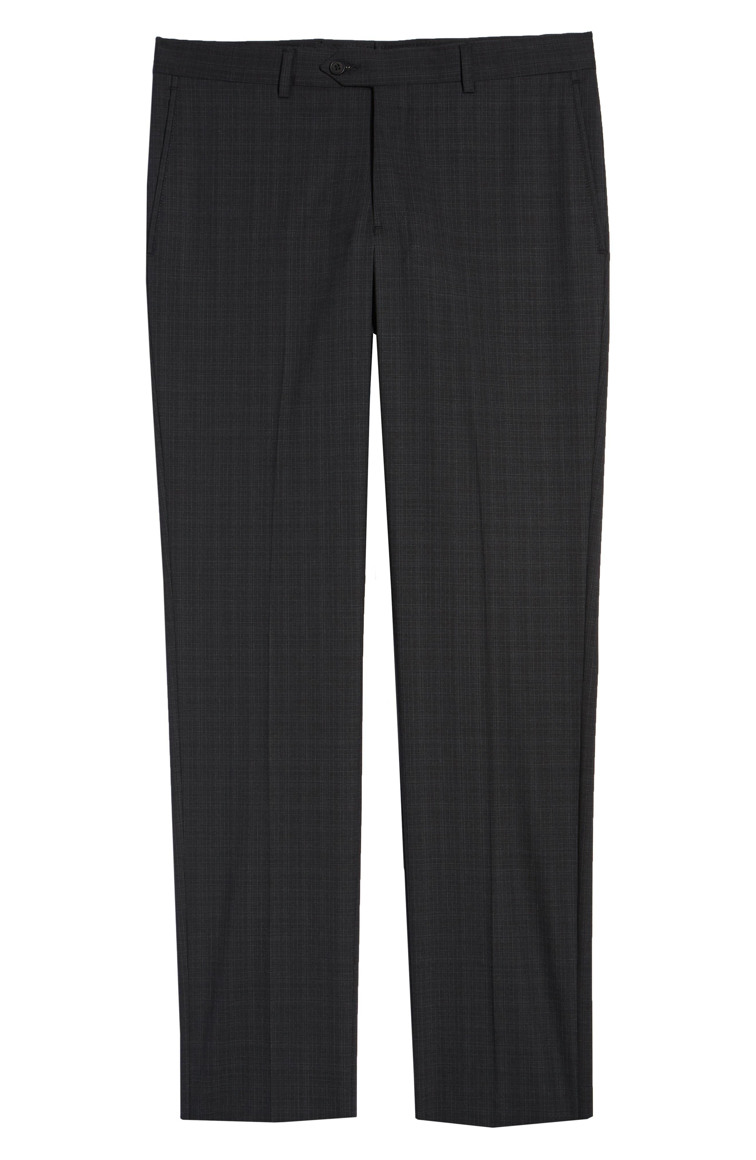 Trim Fit Flat Front Stretch Wool Pants,                             Alternate thumbnail 6, color,                             BLACK