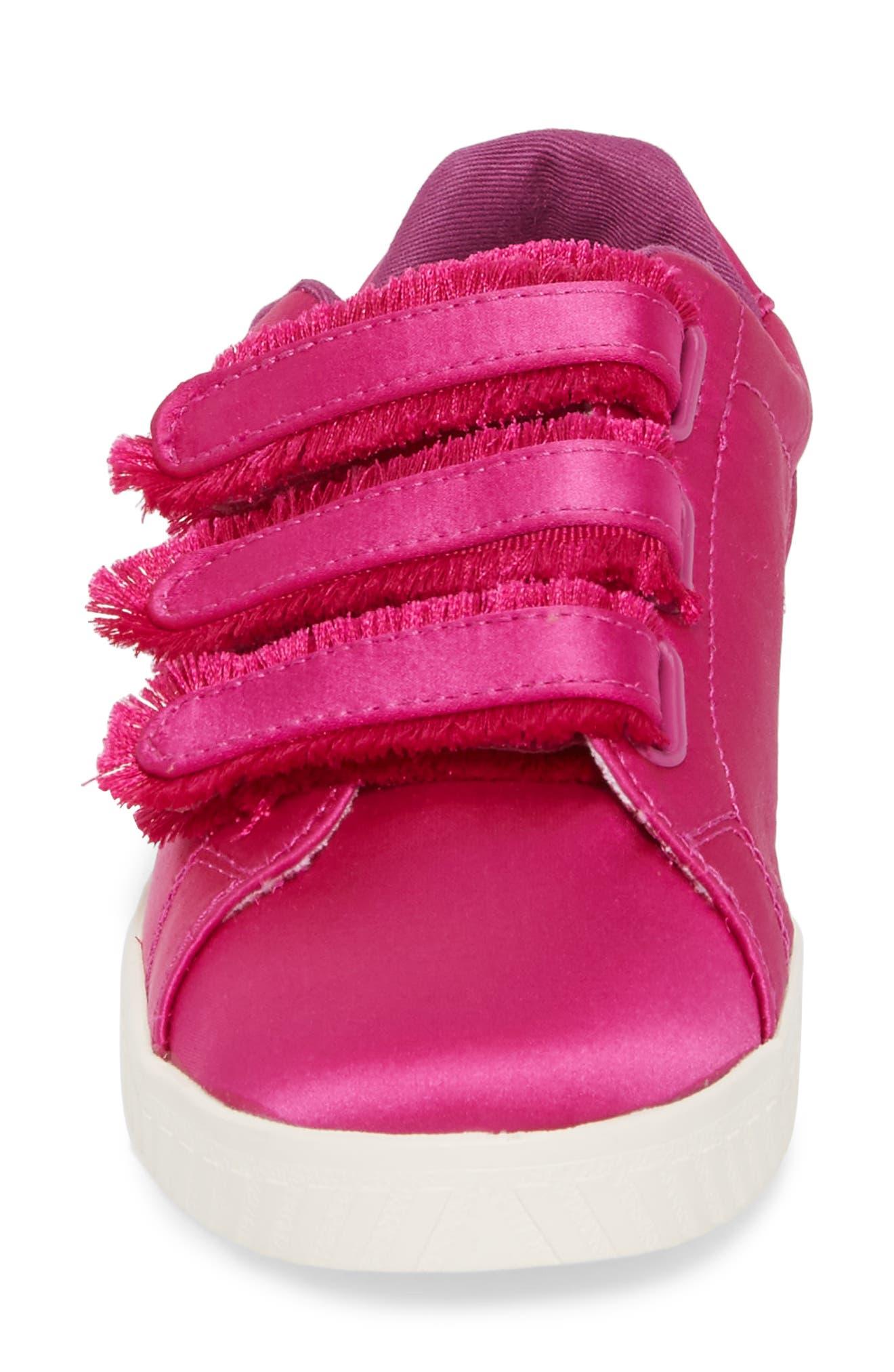 Fringed Strap Sneaker,                             Alternate thumbnail 4, color,                             FUCHSIA SATIN