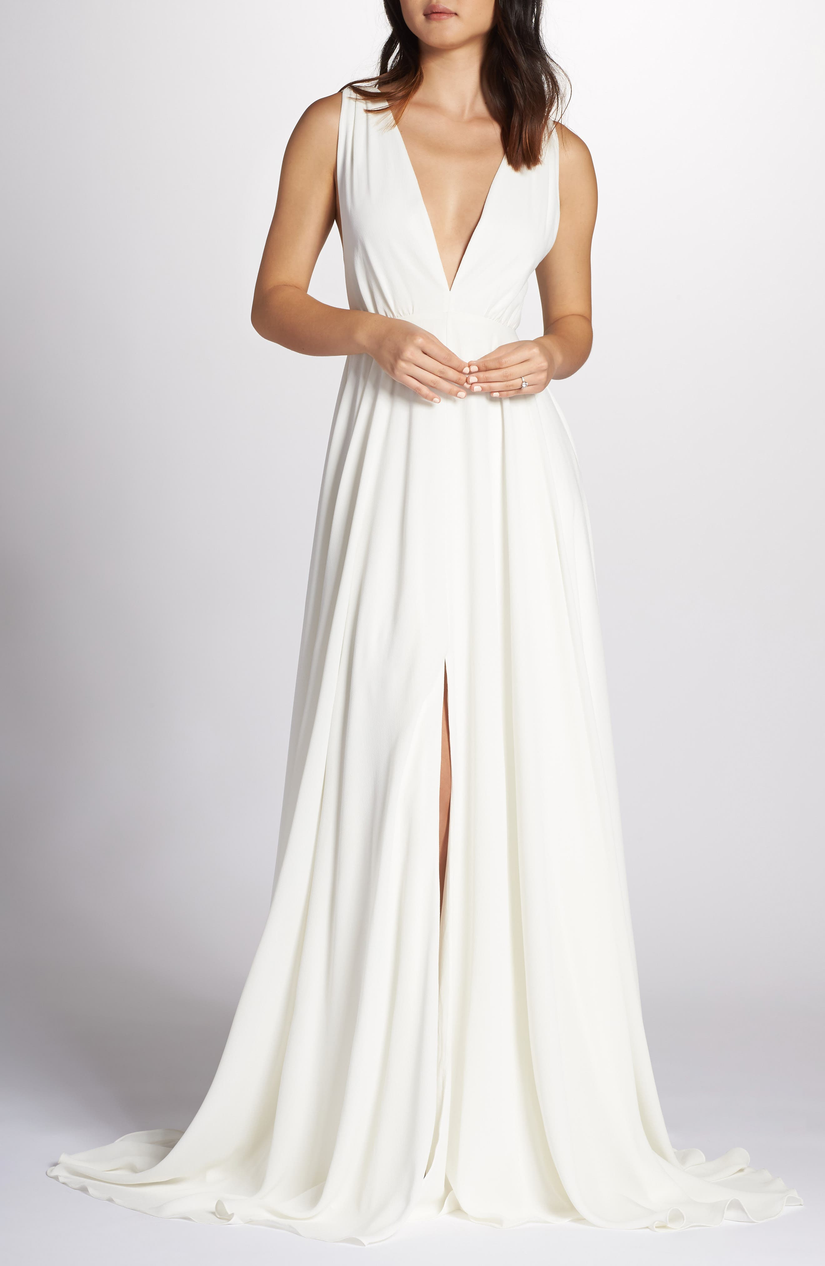 JOANNA AUGUST Nico Plunging A-Line Gown in White