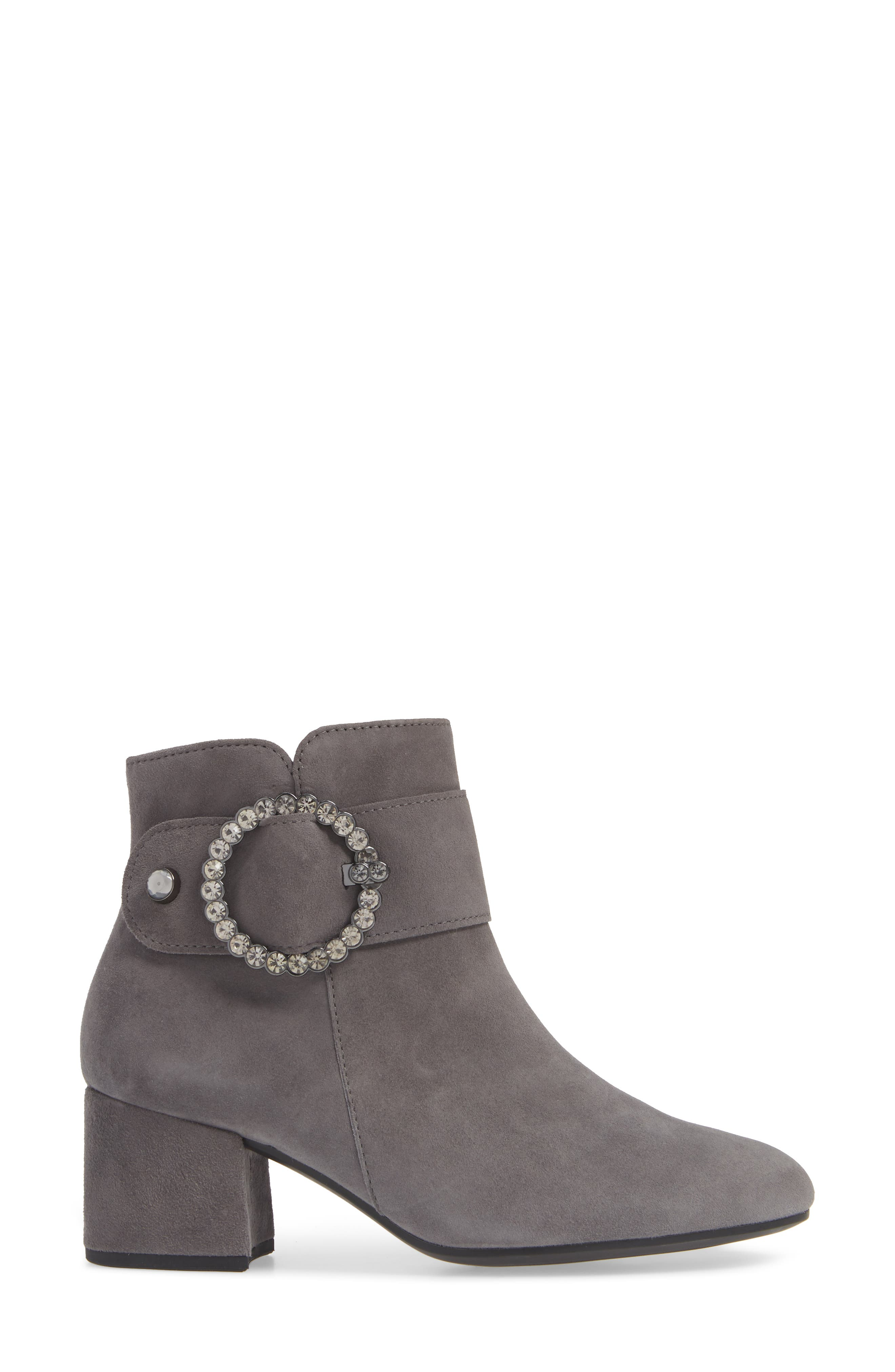 Fashion Bootie,                             Alternate thumbnail 3, color,                             DARK GREY LEATHER