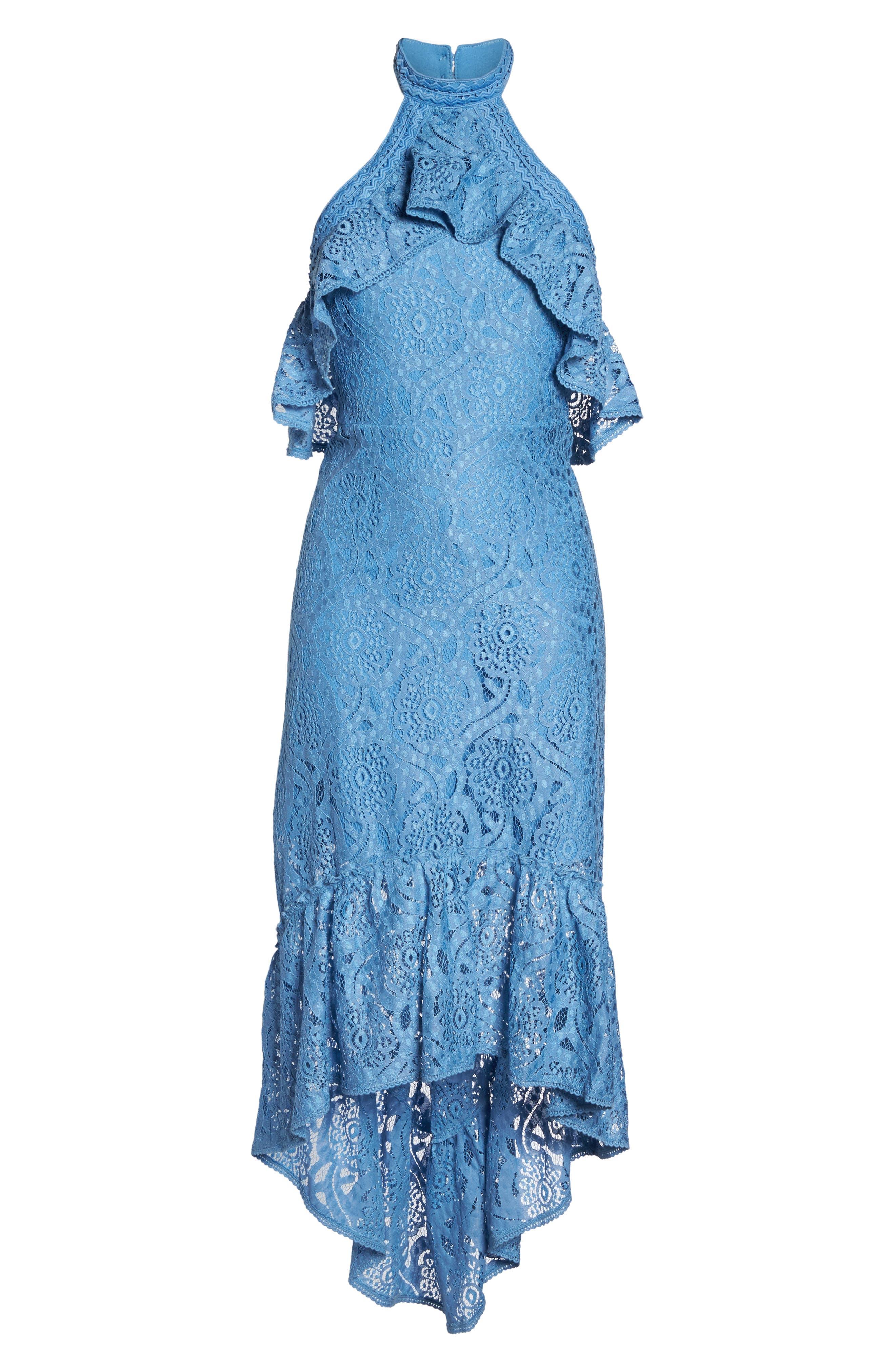 Ruffle Lace Midi Dress,                             Alternate thumbnail 6, color,