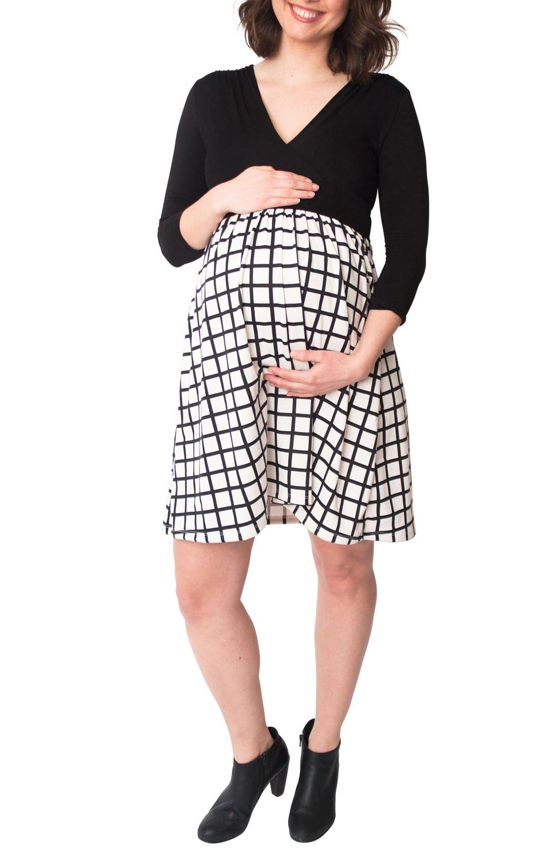 Nom 'Nora' Surplice Maternity/Nursing Dress,                             Main thumbnail 1, color,                             002