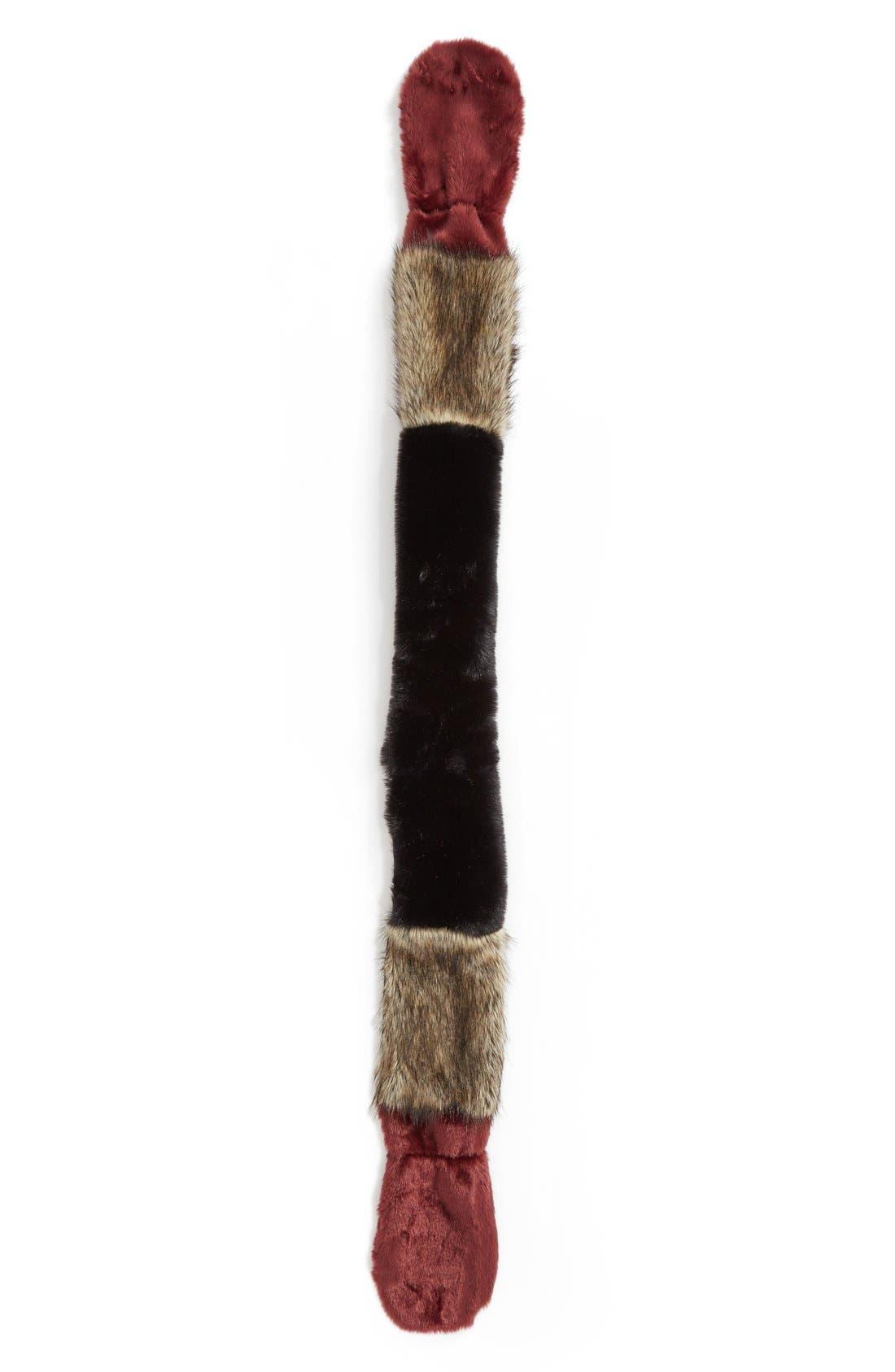 LEITH,                             Colorblock Faux Fur Stole,                             Alternate thumbnail 2, color,                             001