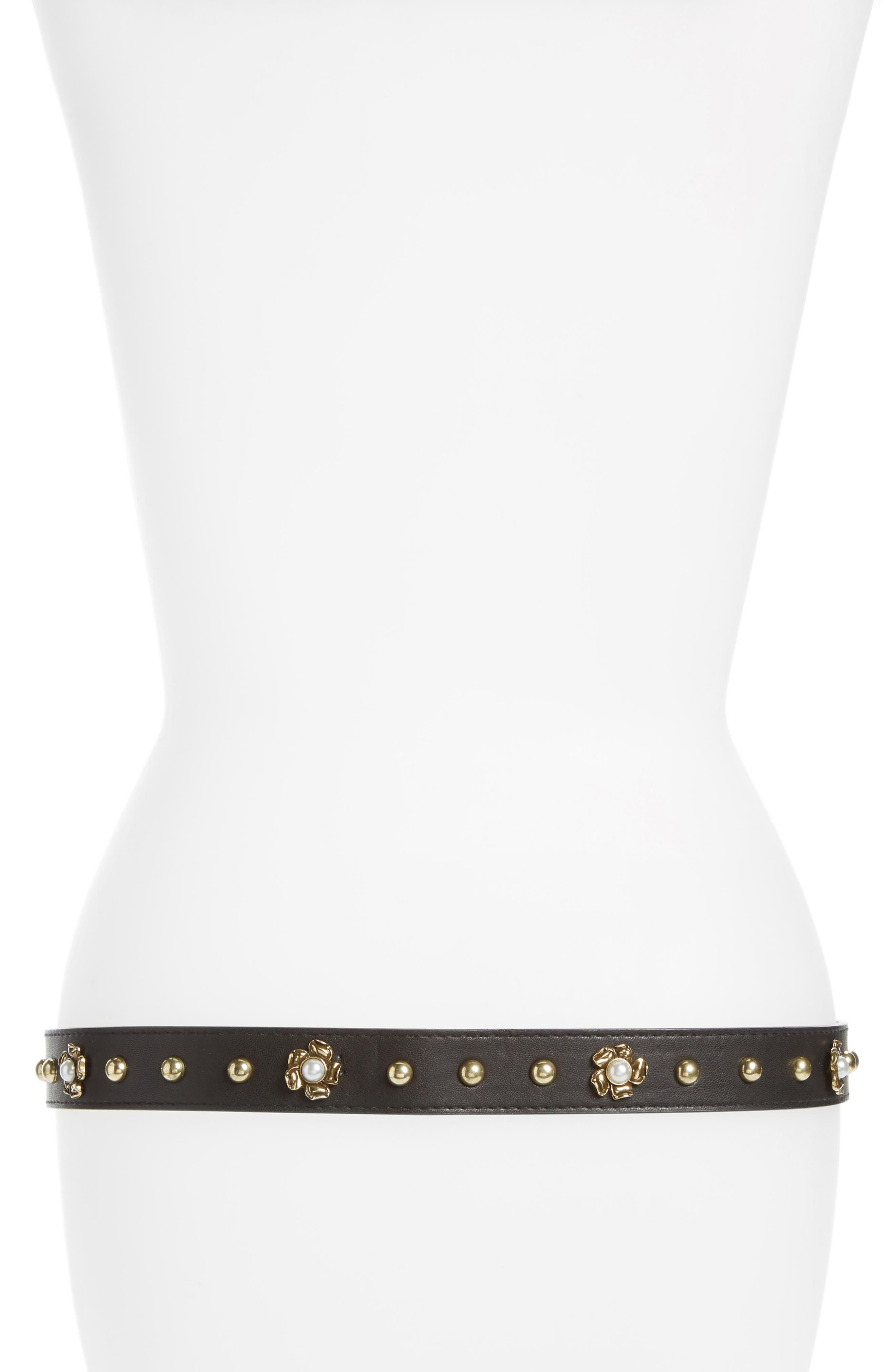 Imitation Pearl Buckle Faux Leather Belt,                             Alternate thumbnail 2, color,                             002