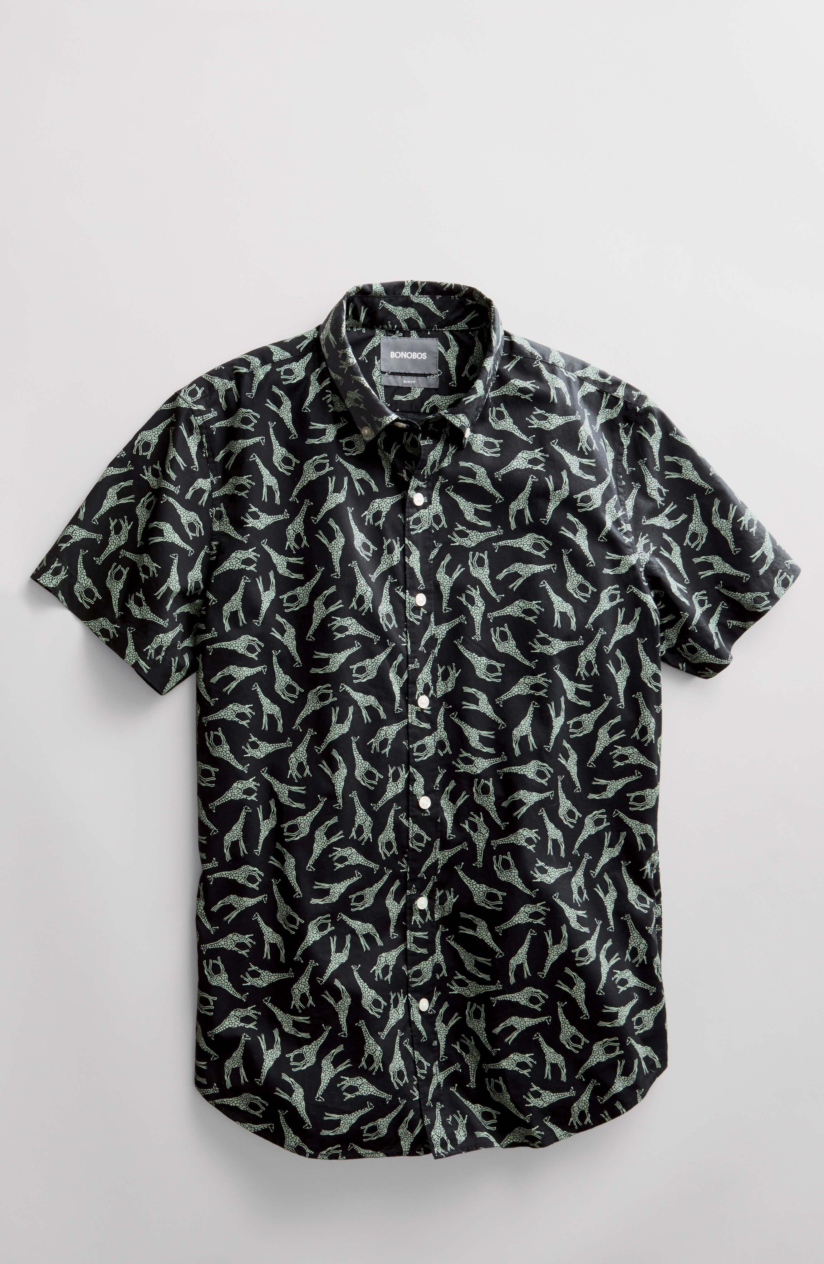 BONOBOS,                             Riviera Slim Fit Giraffe Print Sport Shirt,                             Alternate thumbnail 7, color,                             001