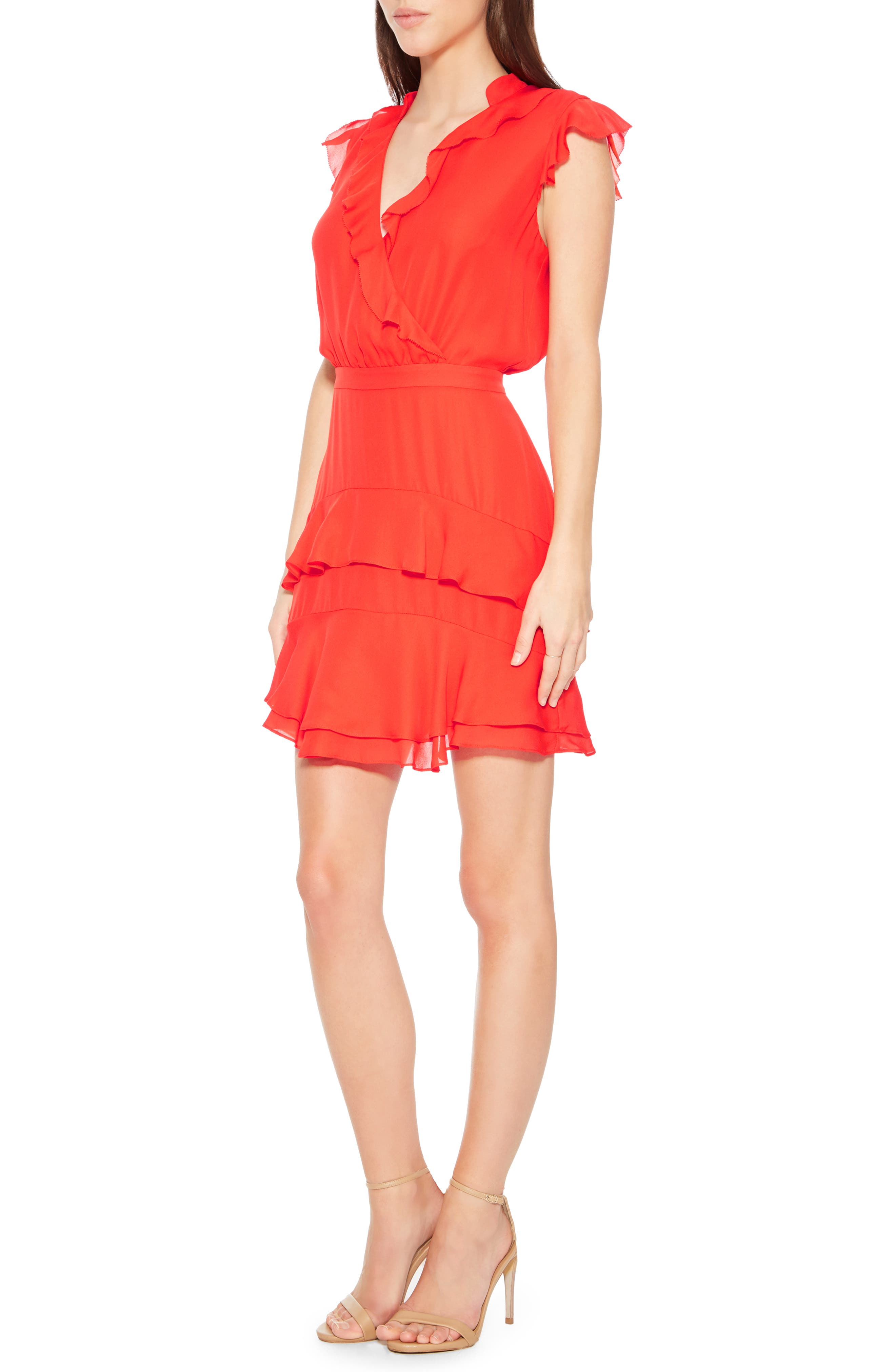 PARKER,                             Tangia Silk Dress,                             Alternate thumbnail 3, color,                             FLARE