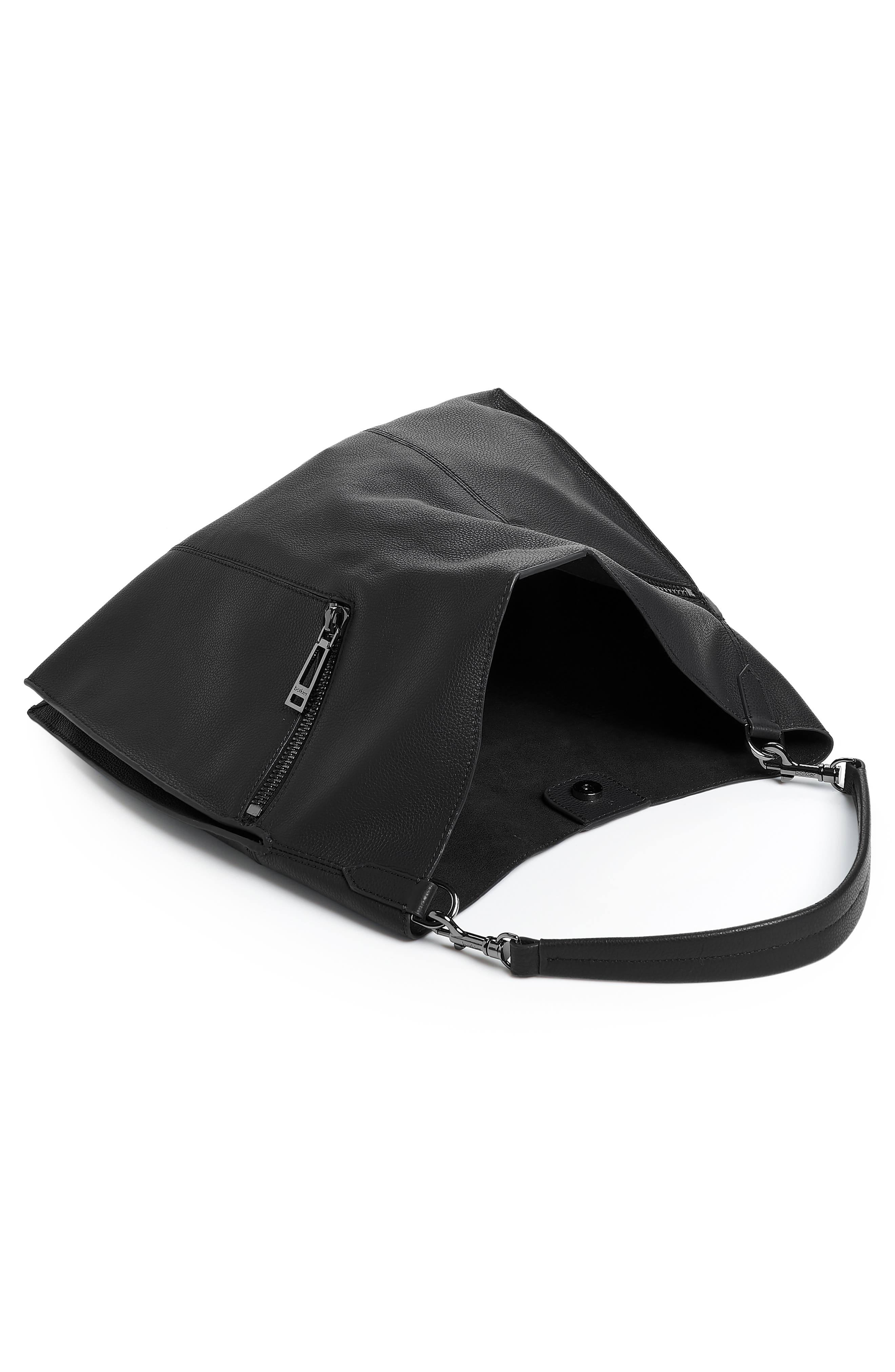 Trigger Pebbled Leather Hobo,                             Alternate thumbnail 3, color,                             BLACK