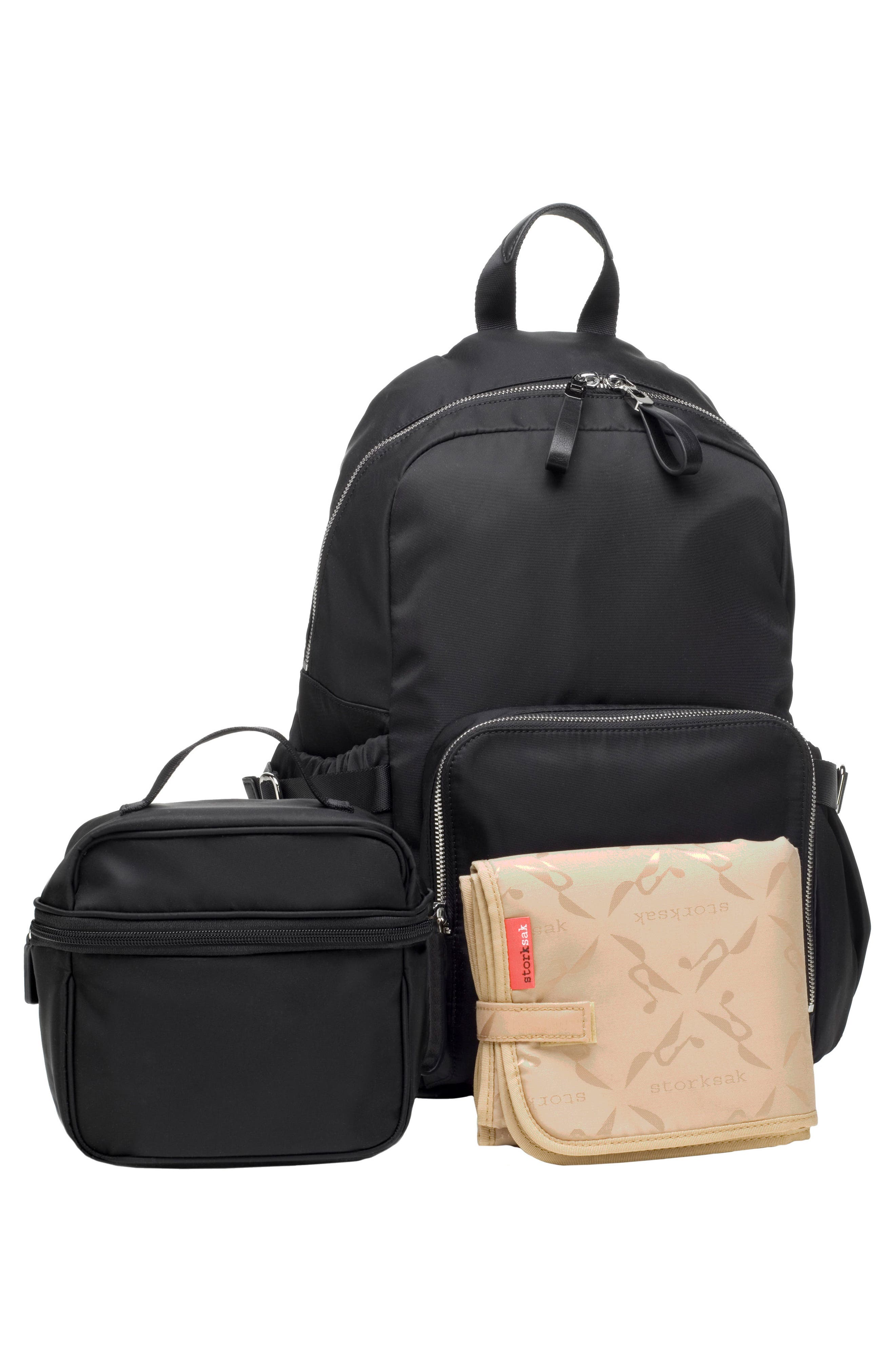 Hero Water Resistant Nylon Backpack Diaper Bag,                             Alternate thumbnail 10, color,                             BLACK