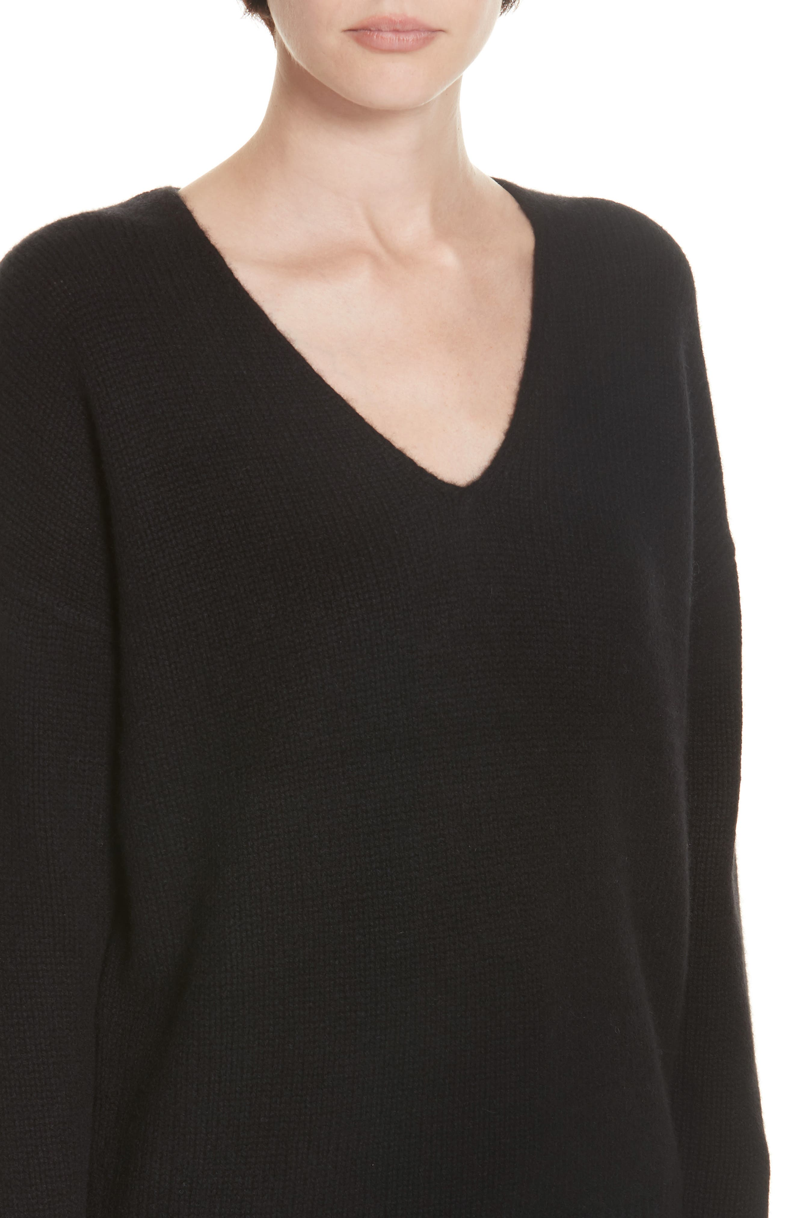 Relaxed Cashmere Sweater,                             Alternate thumbnail 4, color,                             BLACK