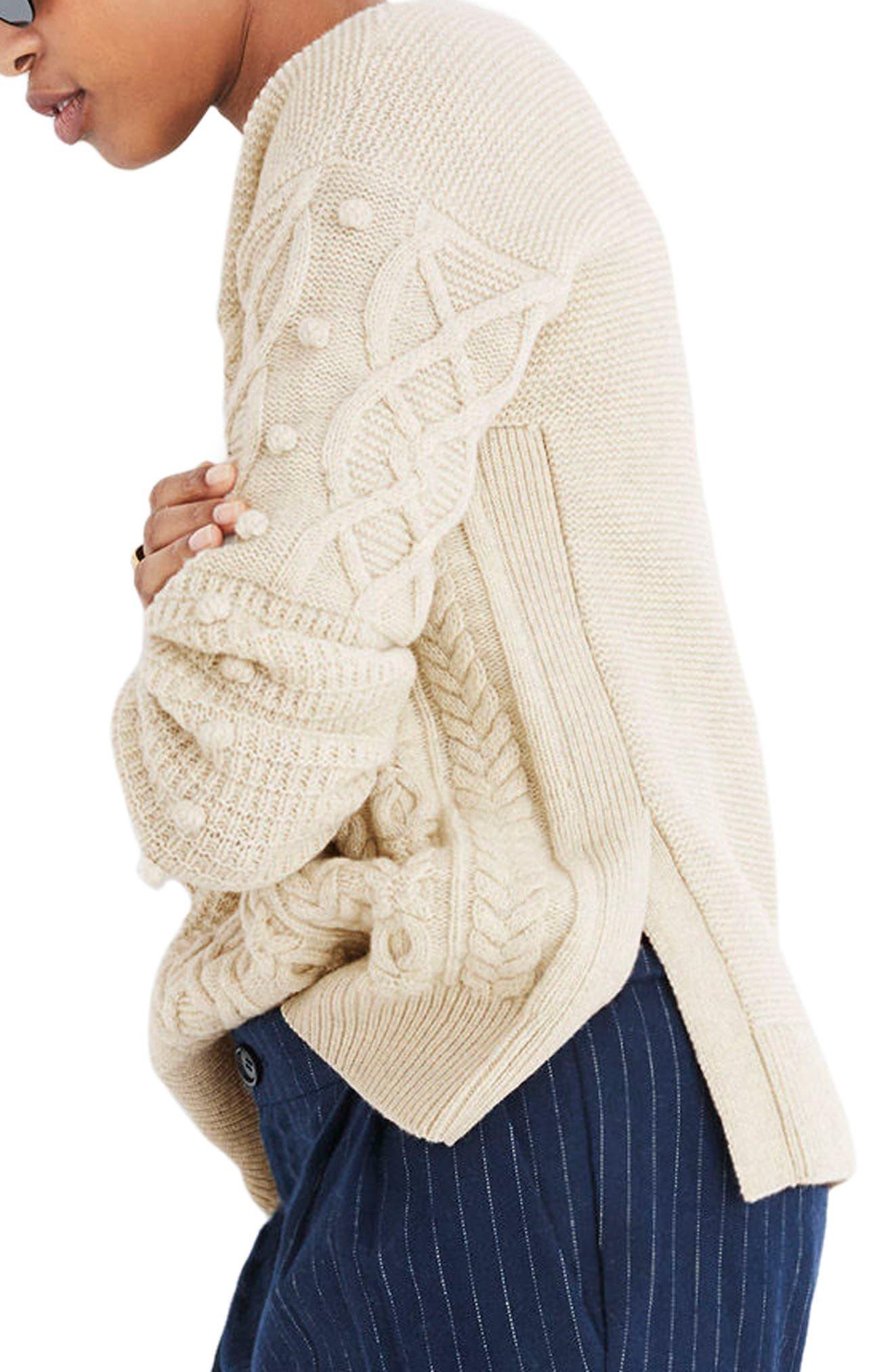 Open Side Bobble Pullover Sweater,                             Alternate thumbnail 3, color,                             020