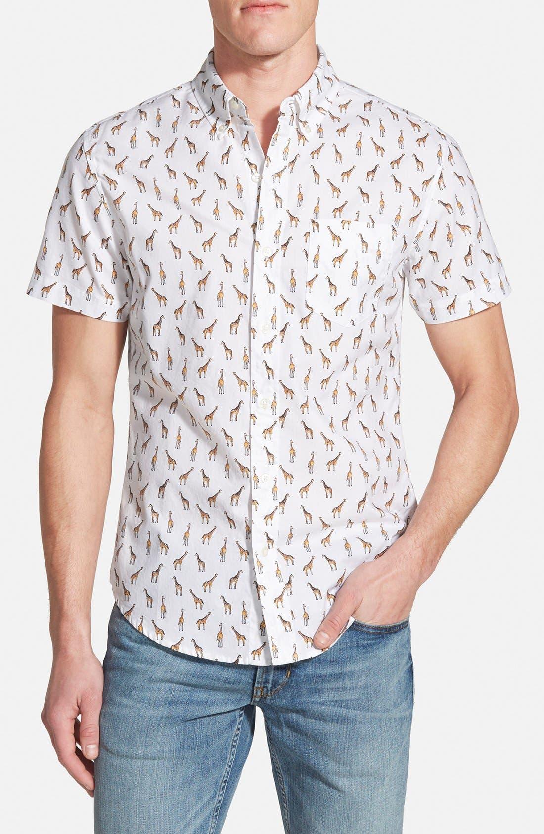 'Giraffe Tower Print' Slim Fit Short Sleeve Sport Shirt,                             Main thumbnail 1, color,                             100