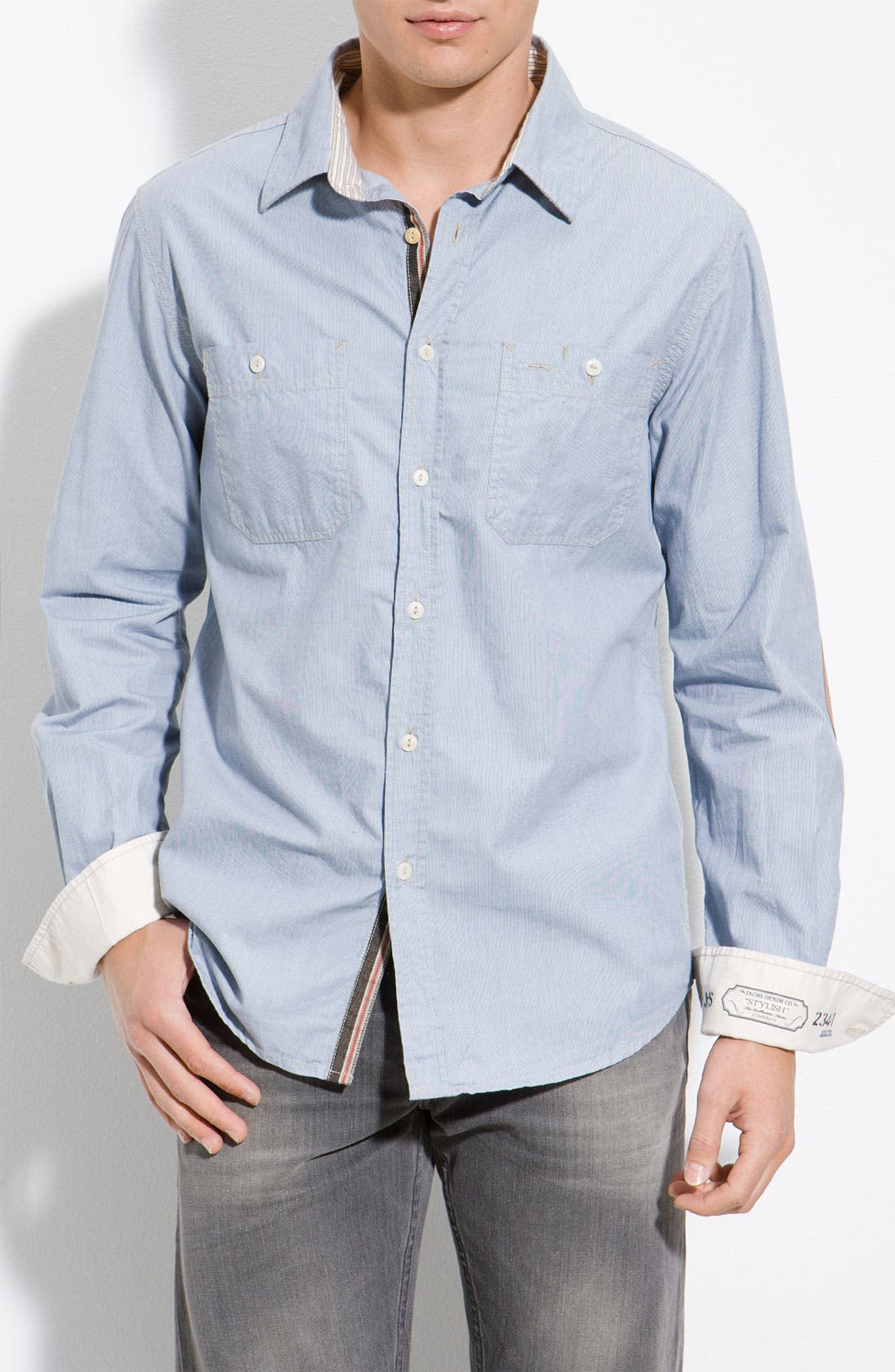 Striped Shirt With Elbow Patches,                             Main thumbnail 1, color,                             453