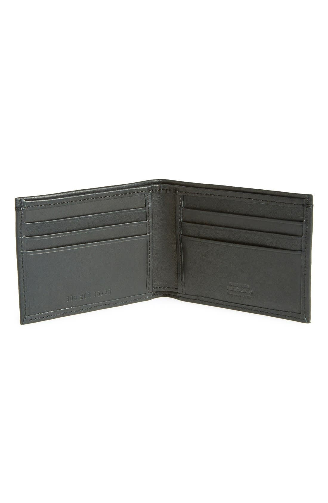 Slim Bifold Leather Wallet,                             Alternate thumbnail 3, color,                             BLACK