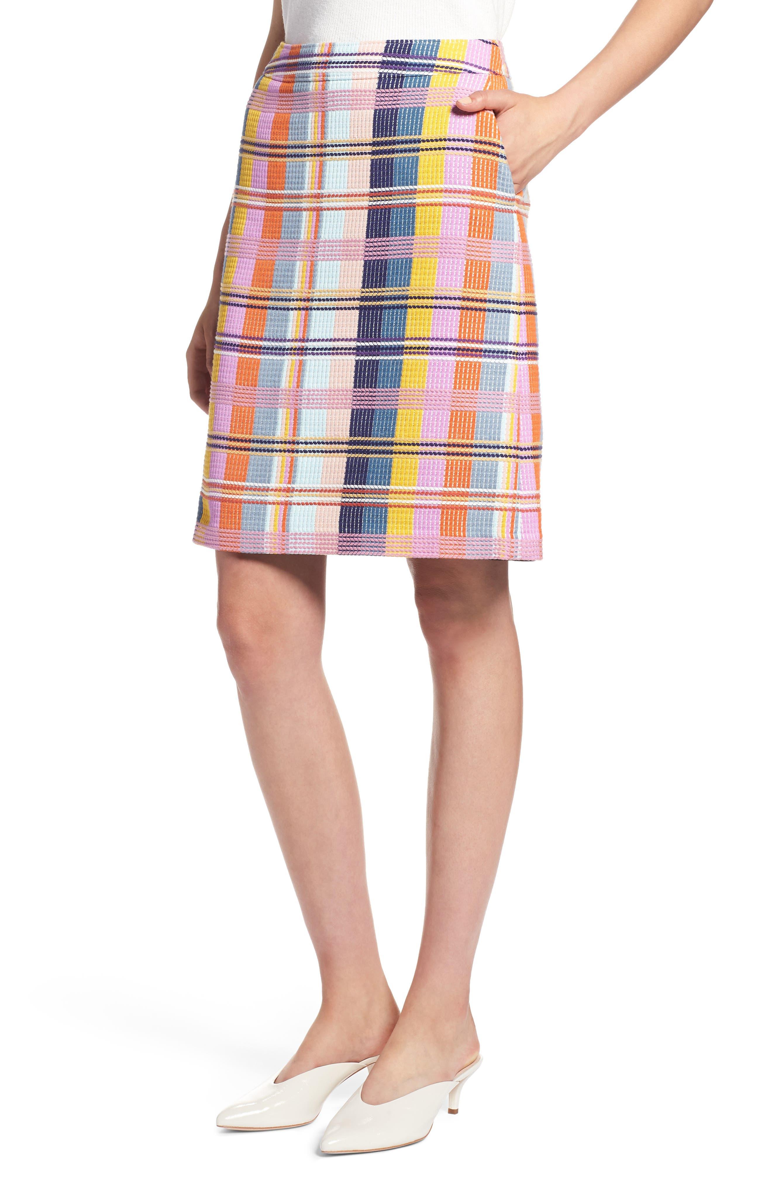 Plaid Tweed Pencil Skirt,                             Main thumbnail 1, color,                             BLUE MULTI TWEED