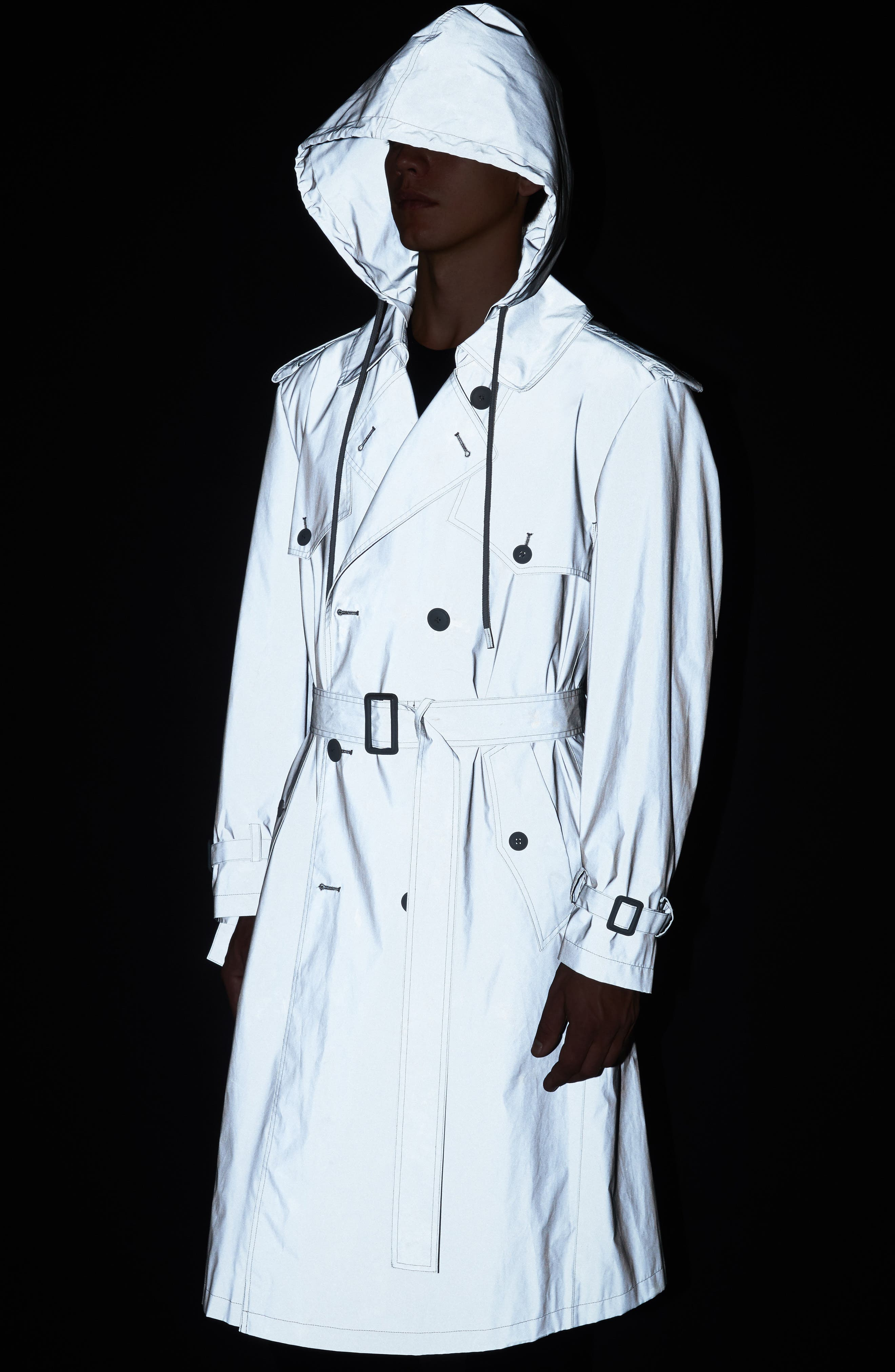 Reflective Hooded Trench Coat,                             Alternate thumbnail 5, color,