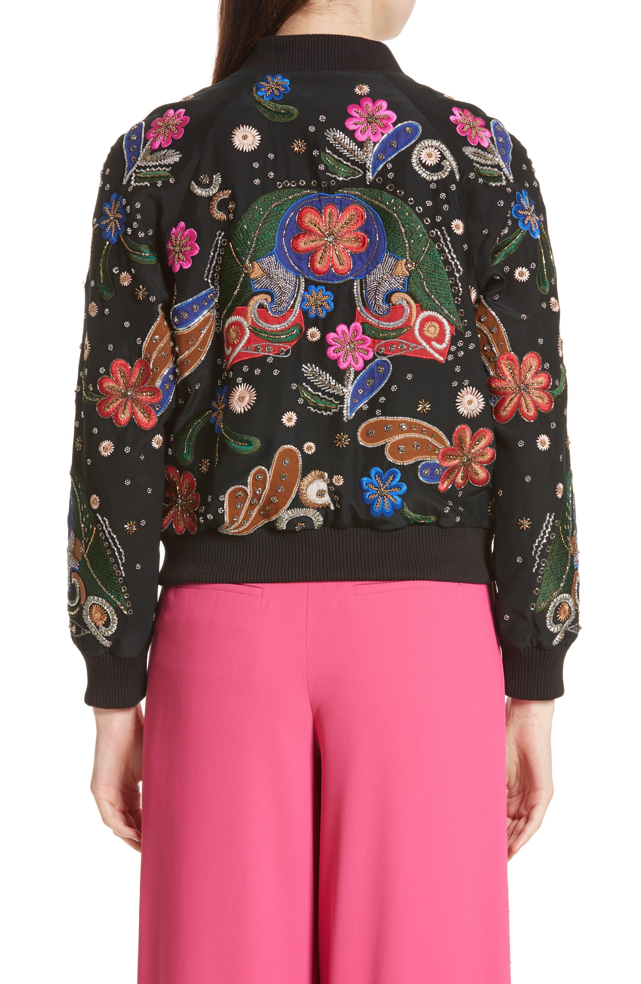 Felisa Embellished Silk Bomber Jacket,                             Alternate thumbnail 2, color,                             019