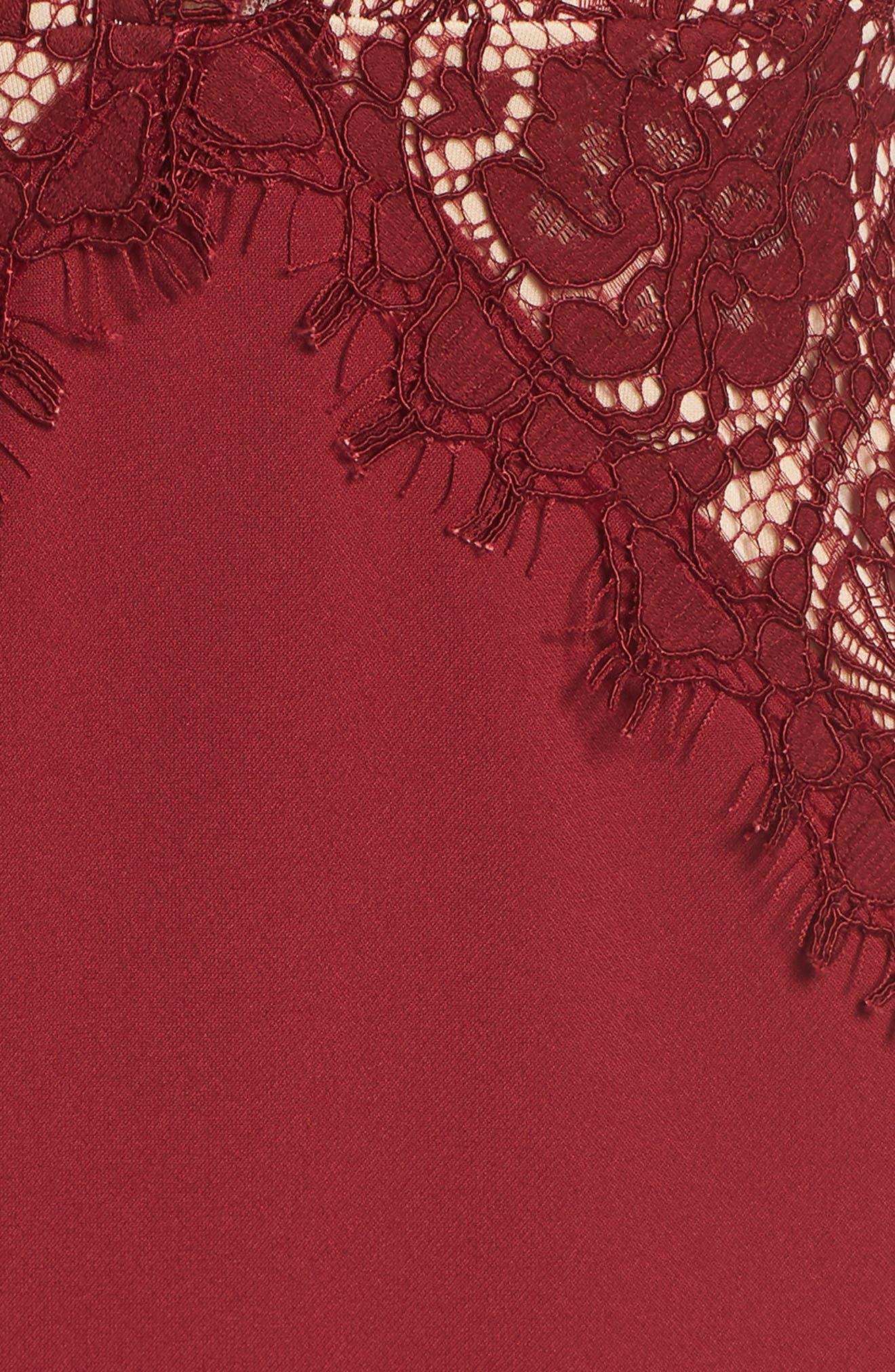 Amare Trumpet Evening Dress,                             Alternate thumbnail 6, color,                             BURGUNDY/ NUDE